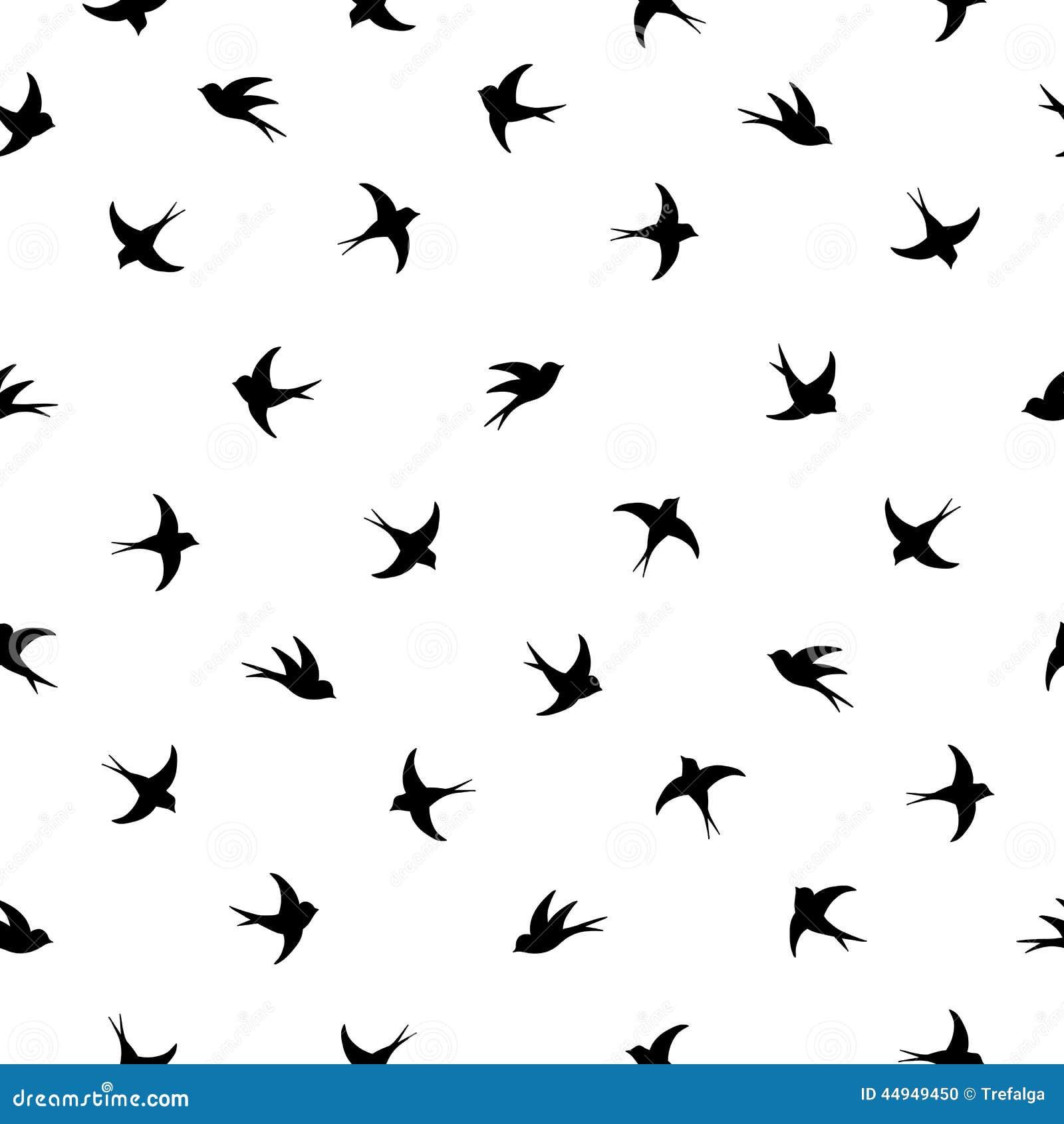Stock Illustration Flying Birds Silhouette Pattern Black White Image44...
