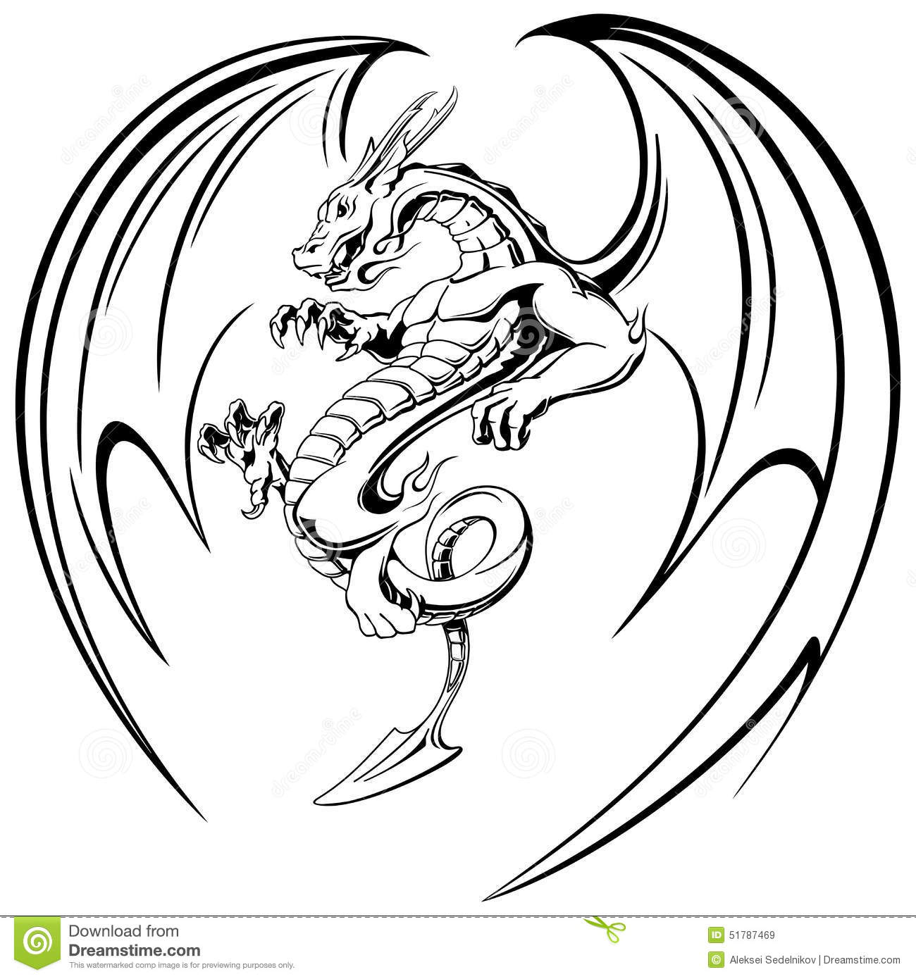 Flying black dragon with wings tattoo vector illustration - Aile de dragon dessin ...