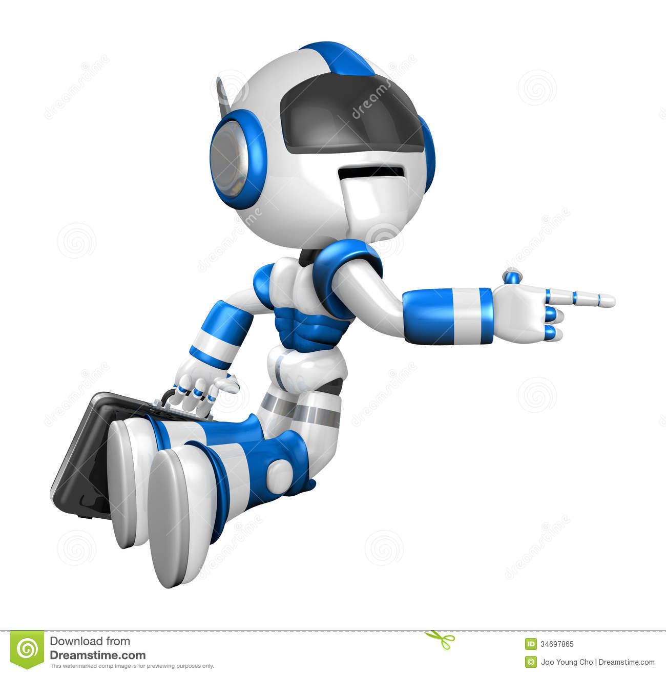 Flying Blue Robot Carrying A Briefcase. Create 3D Humanoid Robot ...