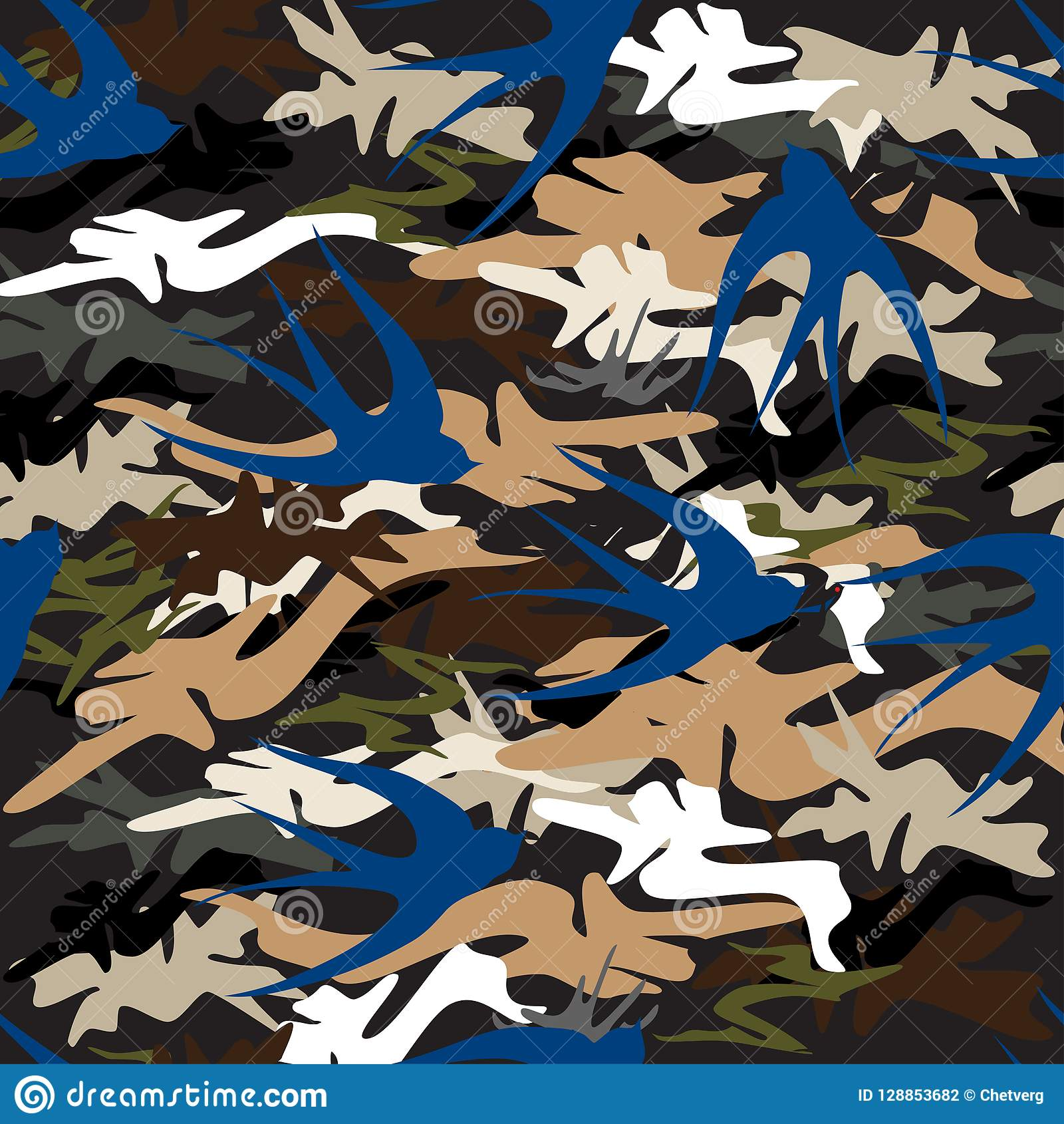 Flying blue swallow on the background of the camouflage seamless pattern.