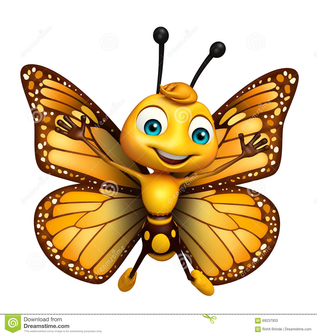 Flying Butterfly Cartoon Character Stock Illustration ...