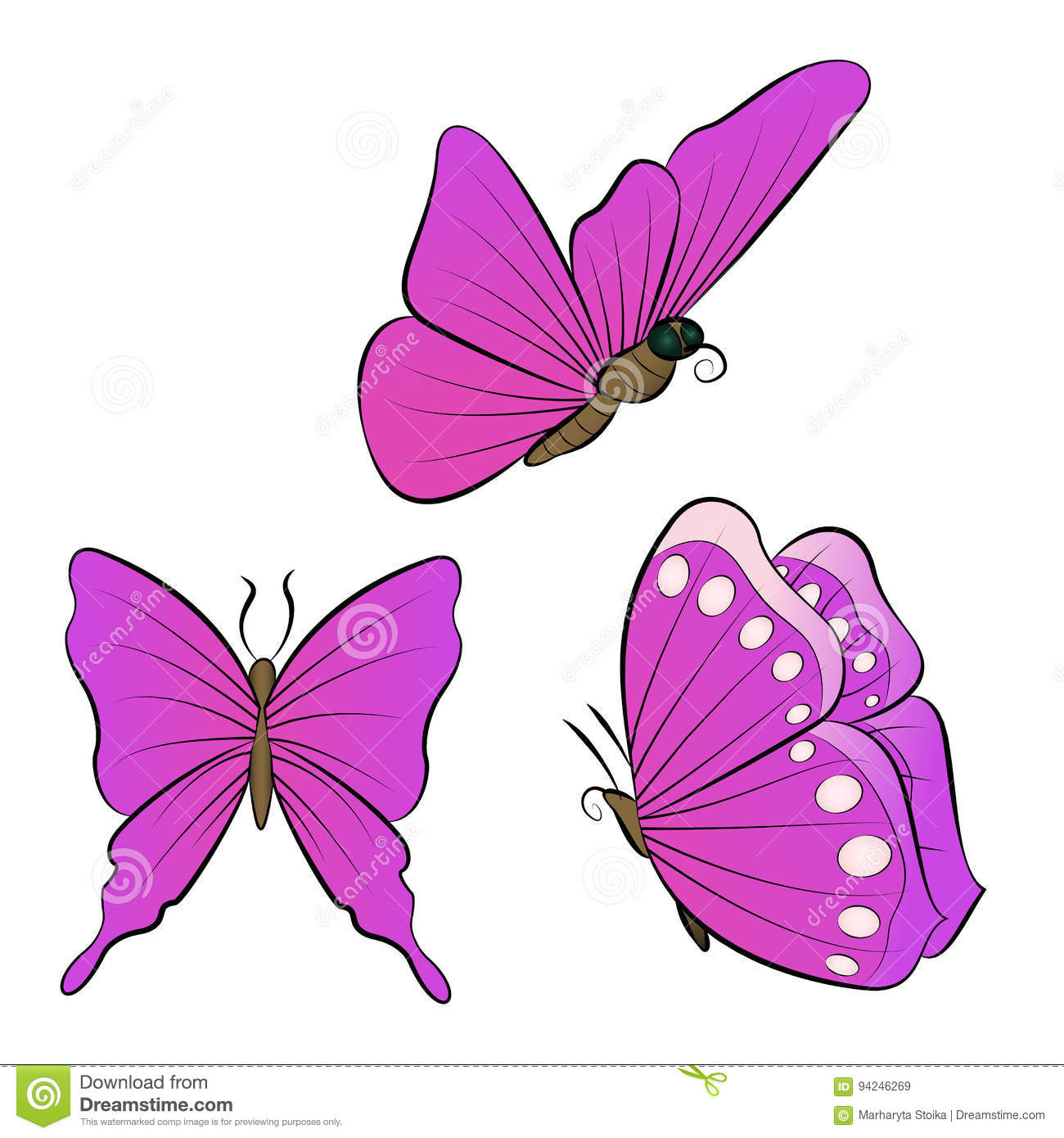 d7be3dc457c61 Flying Butterfly With Purple Wings. Collection Of Beautiful Insects ...