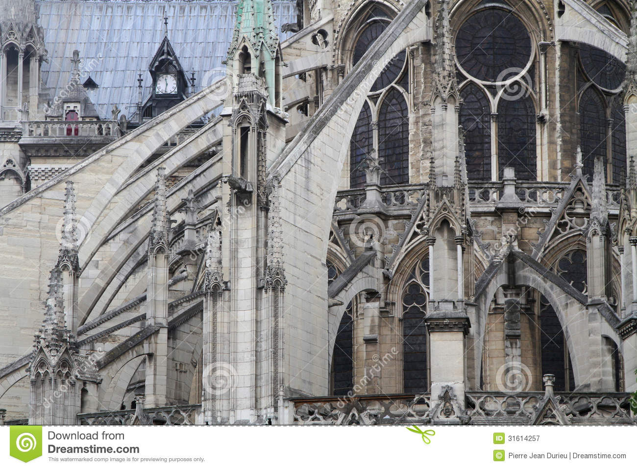 flying buttress of seville cathedral royalty free stock  - flying buttress in notredame cathedral royalty free stock photography