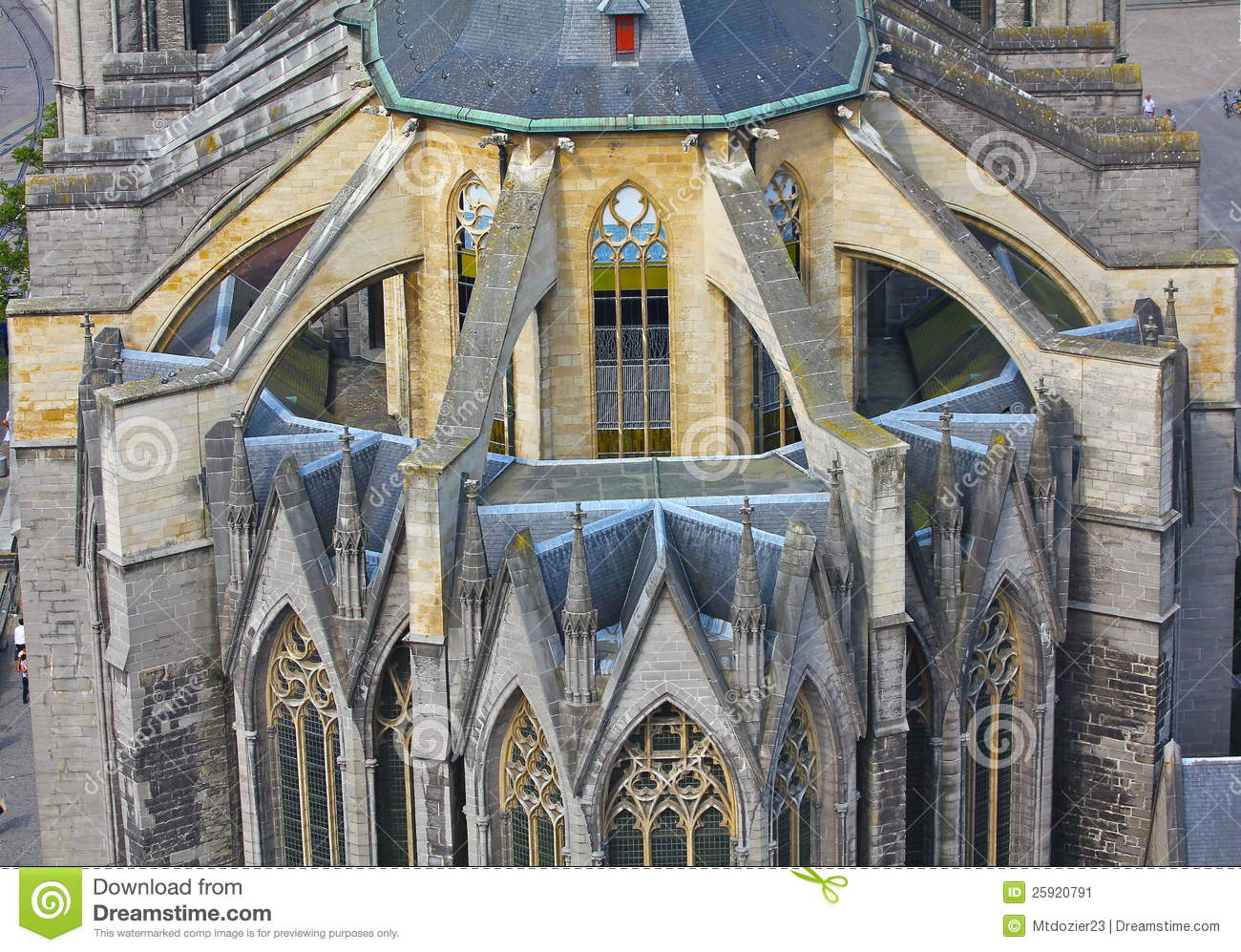 Flying Buttresses On Church In Ghent Belgium Stock Image