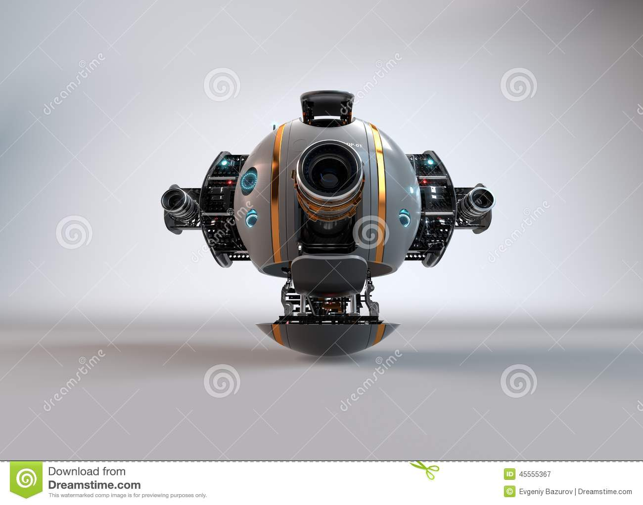 Flying Camera Drone. Robot. Droid. Stock Illustration - Image ...