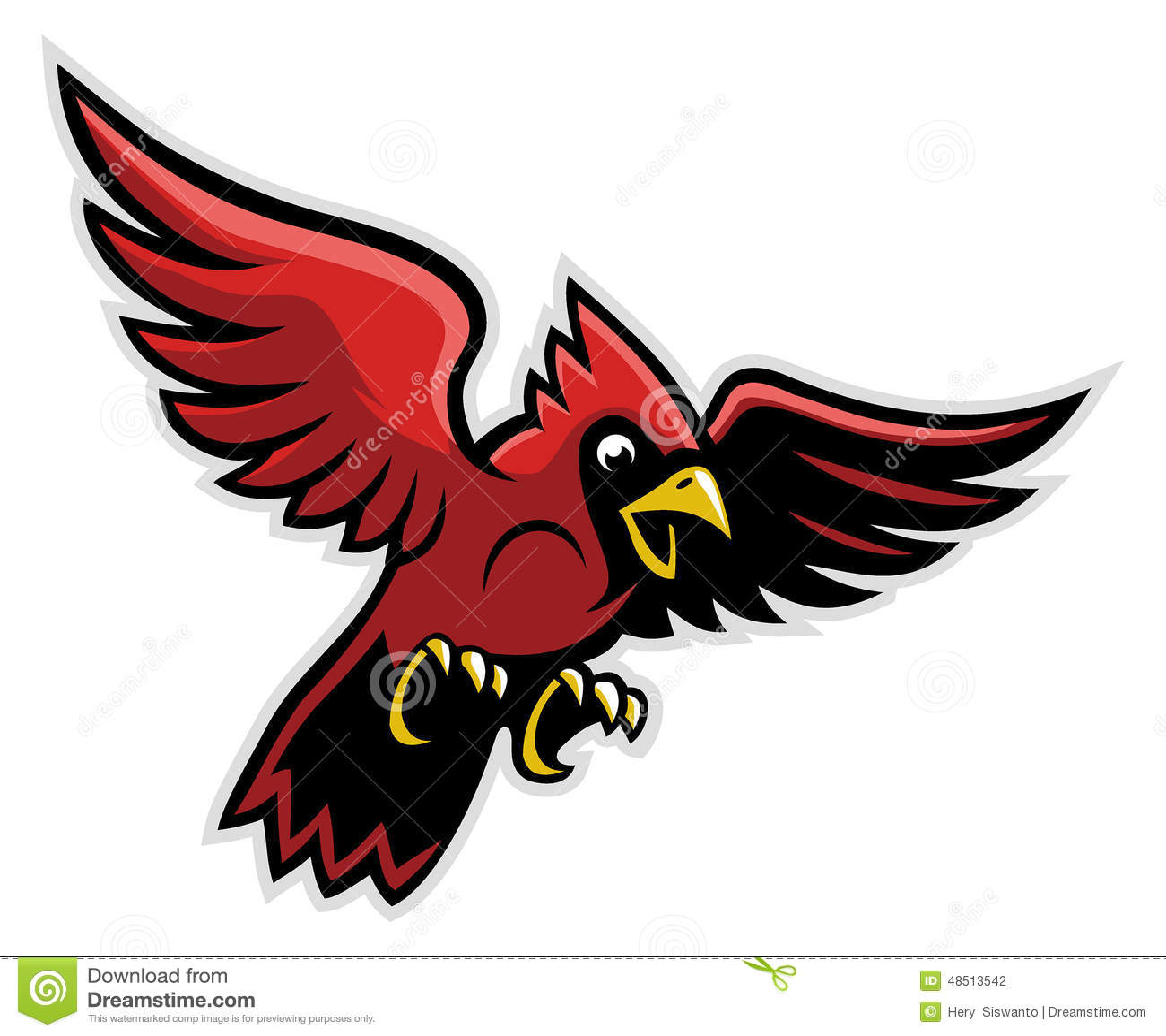 Flying Cardinal Bird Stock Vector Image 48513542