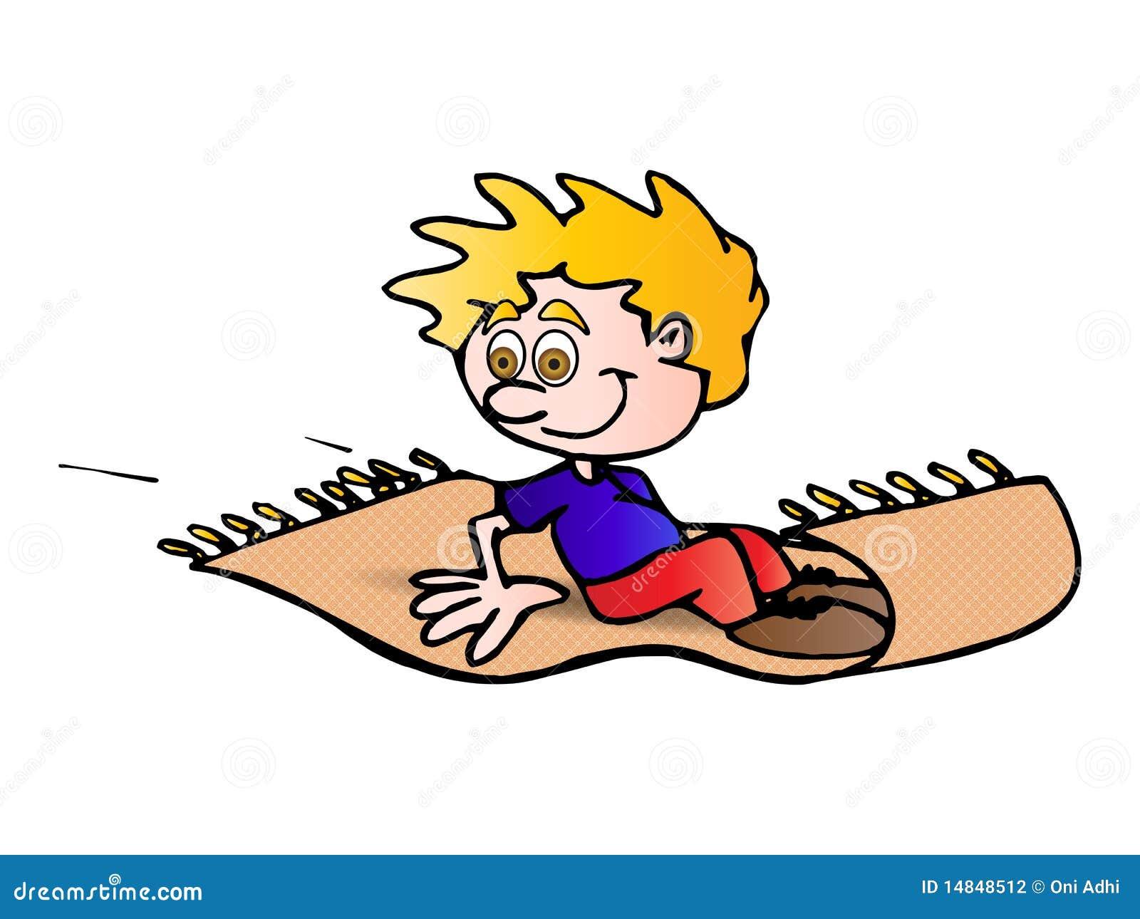 Flying carpet stock illustration illustration of little for Cartoon carpet