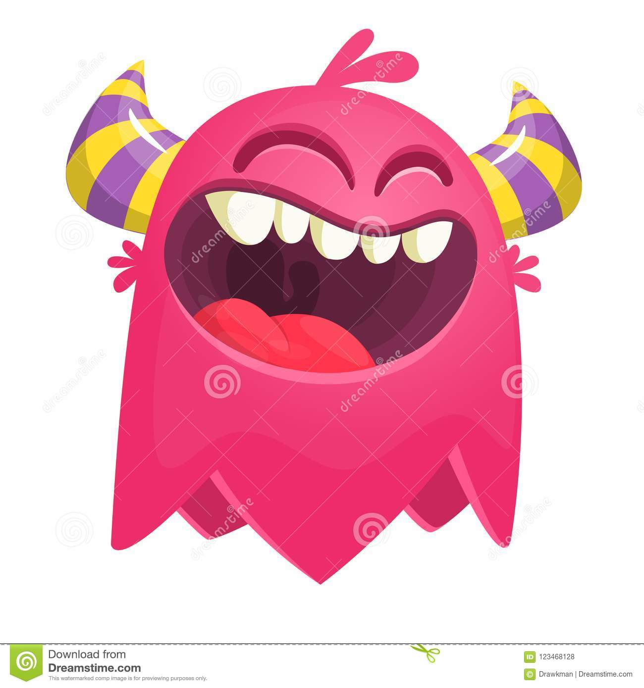 Flying catoon monster. Pink character for Halloween.