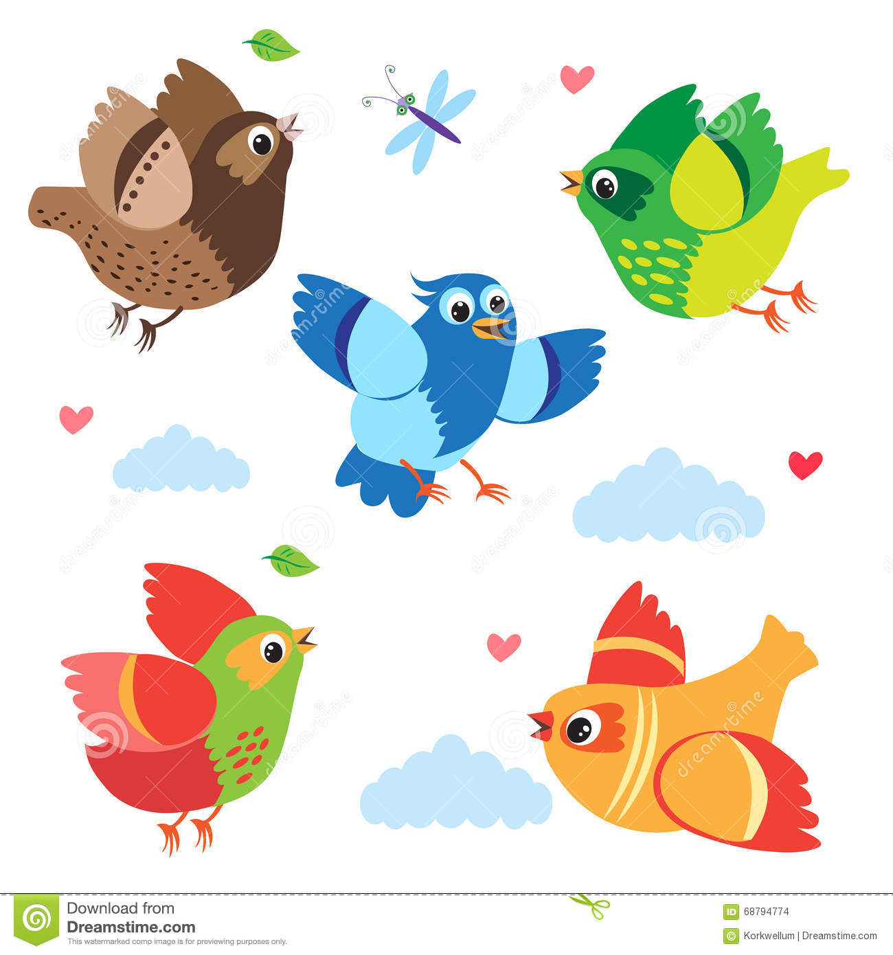 Stock Illustration Flying Colorful Birds Vector Birds Set Cartoon Illu...