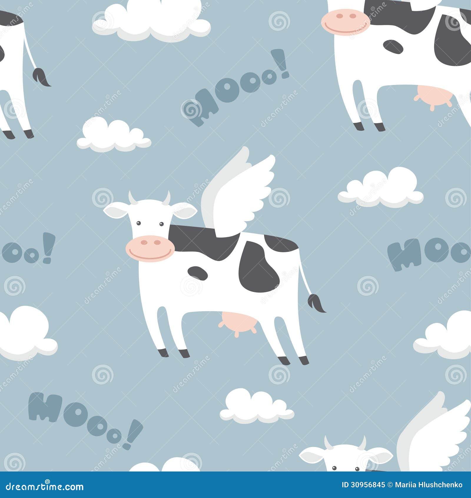 Flying Cows Stock Vector Illustration Of Illustration 30956845