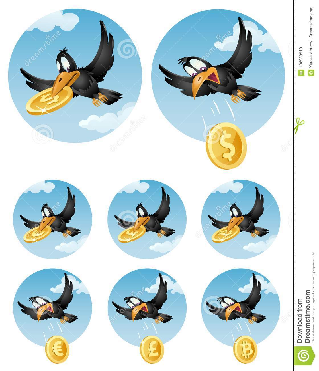 The Flying Crow Drops Symbol Of Different Currencies Dollar Eu
