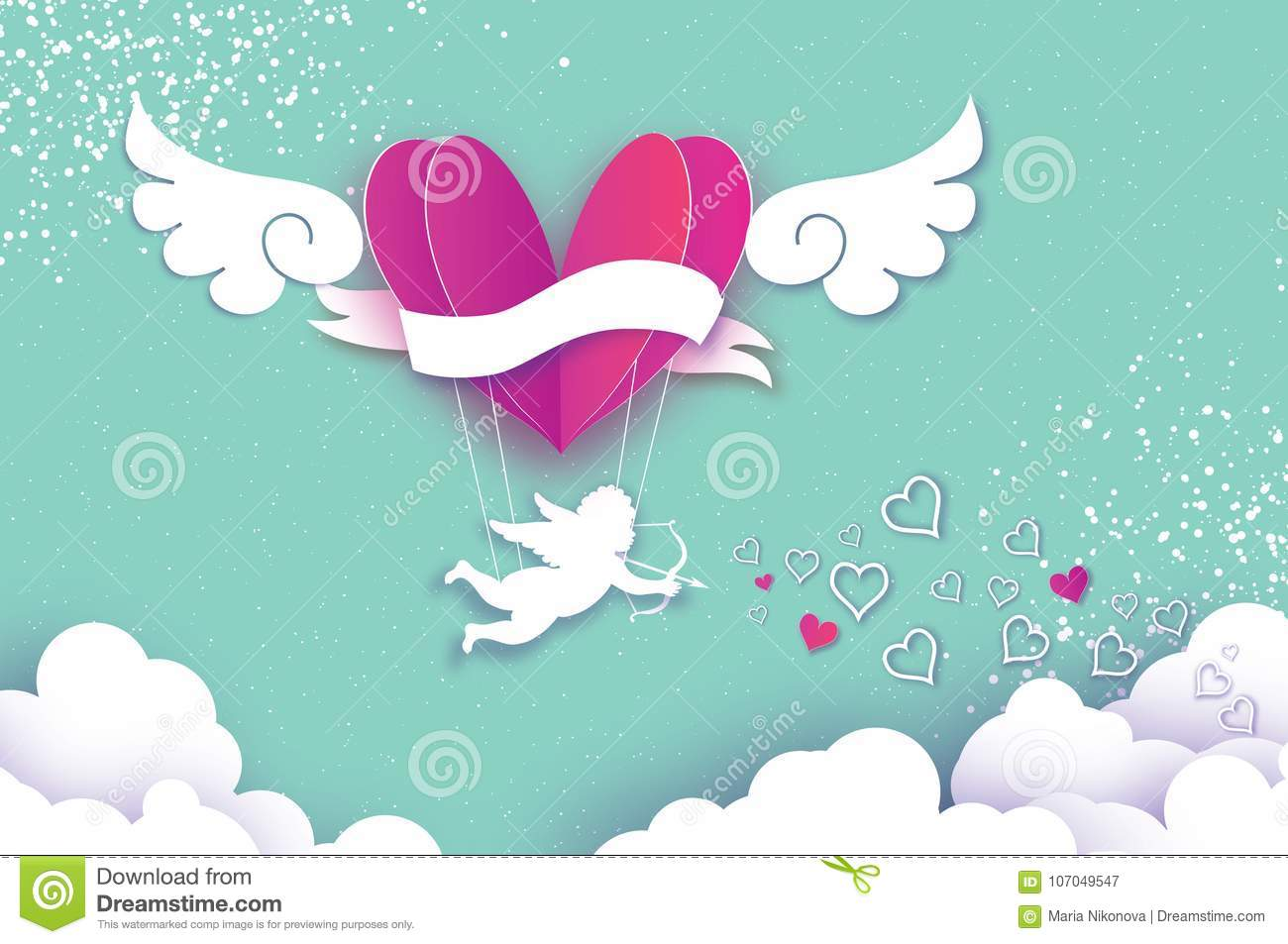 Origami boy gallery craft decoration ideas flying cupid little angel love pink heart in paper cut style flying cupid little angel love jeuxipadfo Choice Image