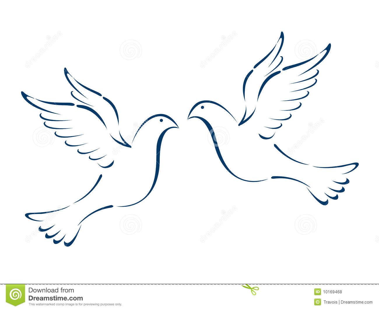 Two Flying Doves Drawing Flying doves