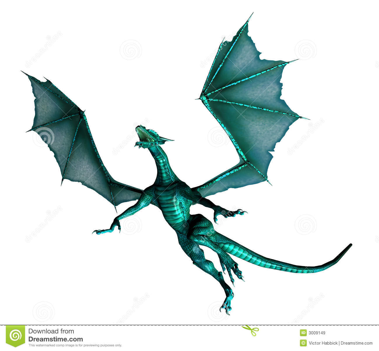 3d illustration of Mythological green dragon in flight isolated on ...