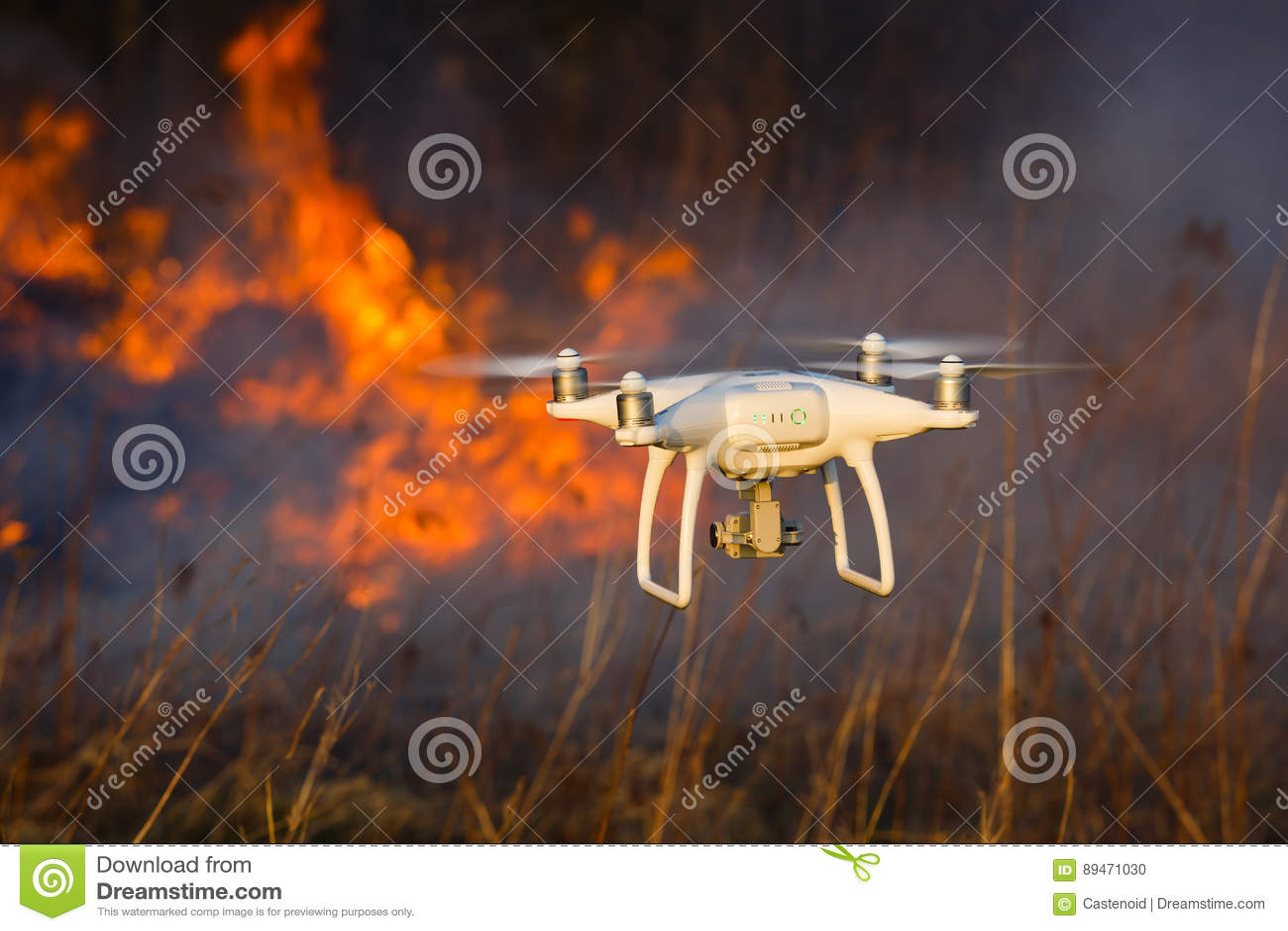 Flying drone in a fire