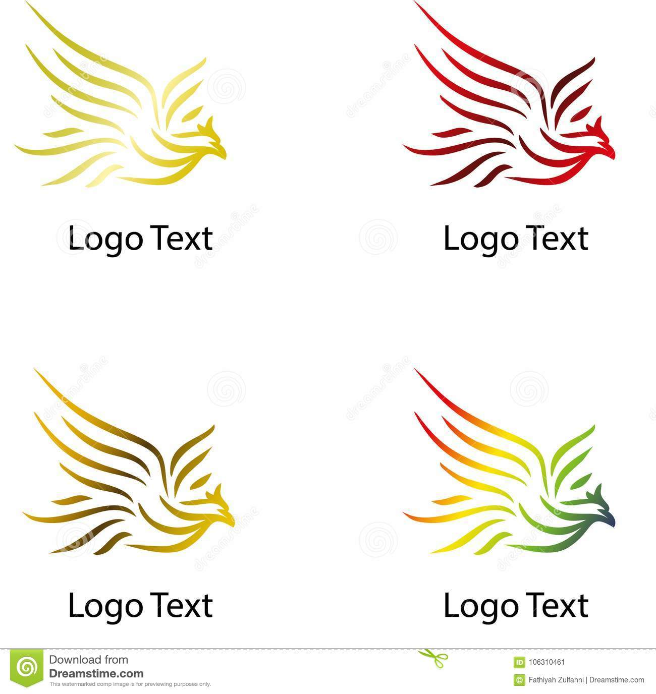 Flying Eagle, Company Logo With Various Color Stock Vector
