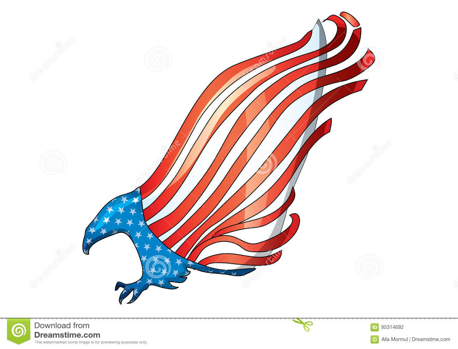 Flying Eagle Flag Usa American Bald Eagle Flag Vector Stock Vector