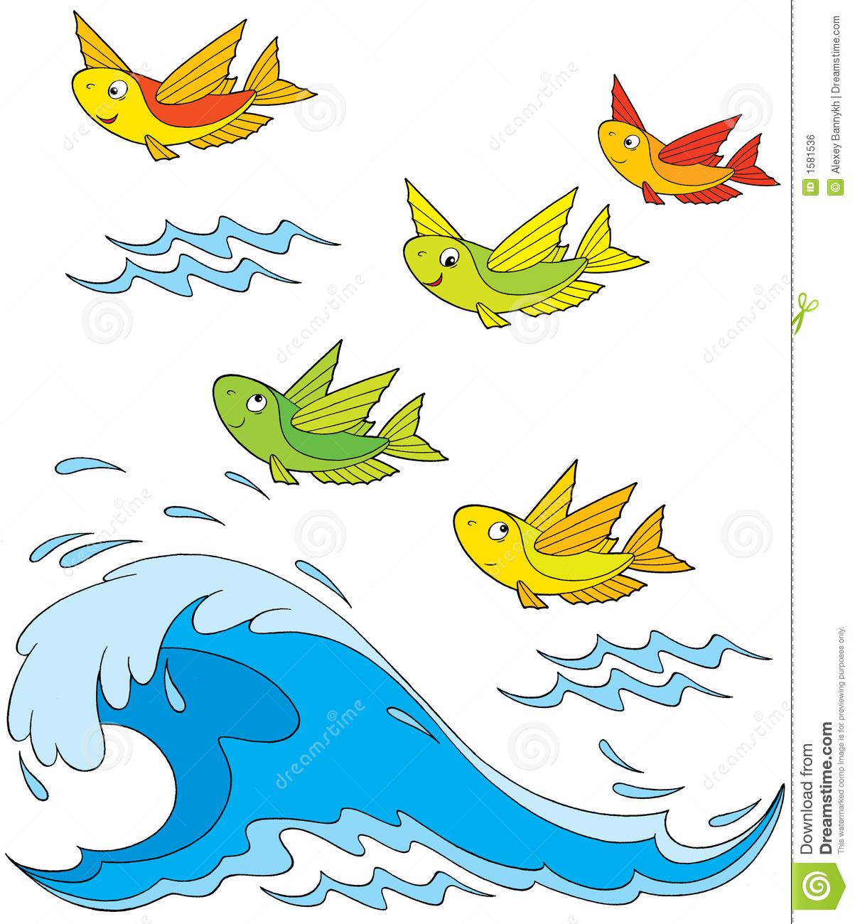 Flying fish stock vector image of flight drawn artistic for Flying fish fleet