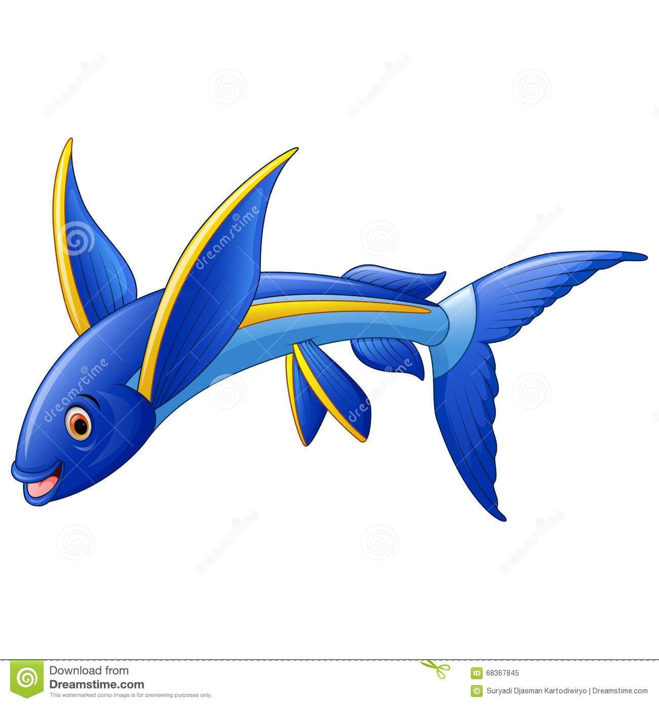 flying fish cartoon character stock vector image 68367845