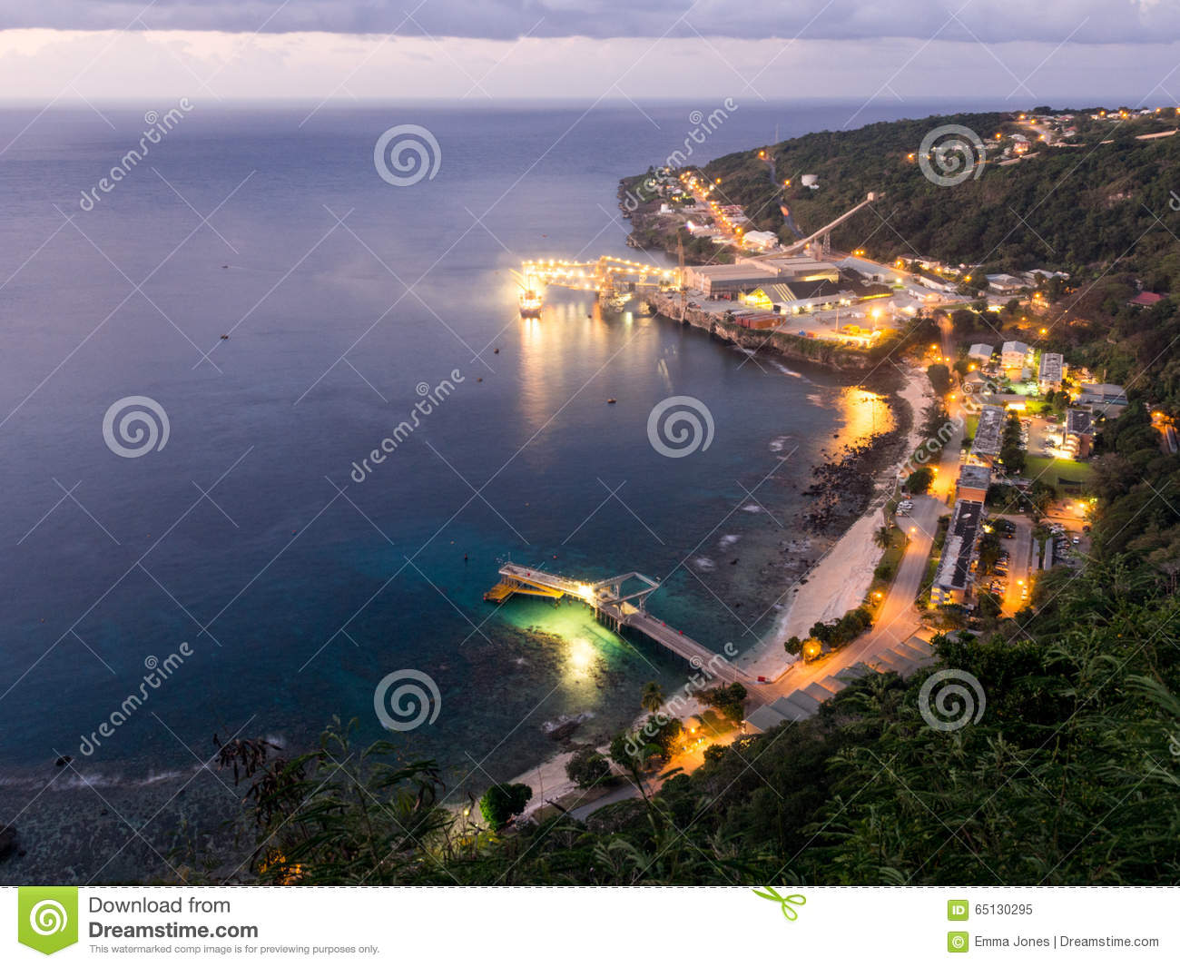 Christmas Island Australia.Flying Fish Cove At Night Christmas Island Australia Stock