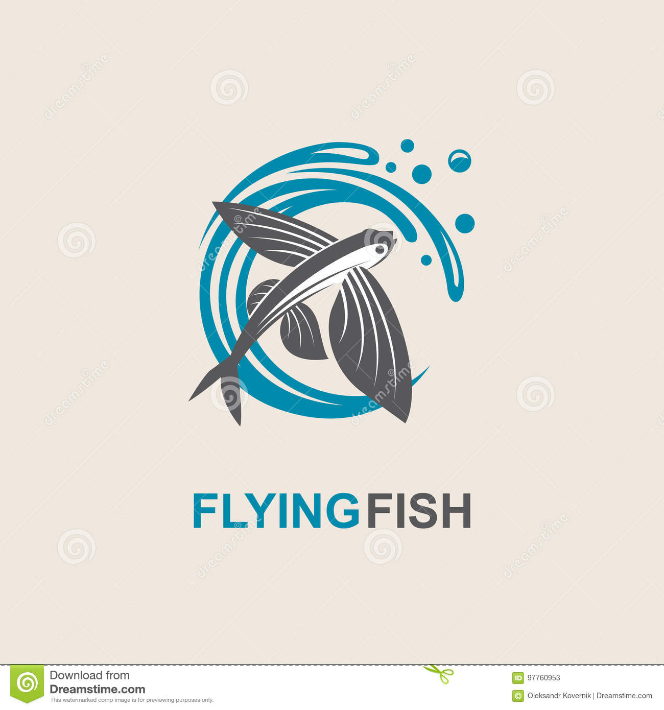 Flying Fish Icon Stock Vector Illustration Of Seafood 97760953