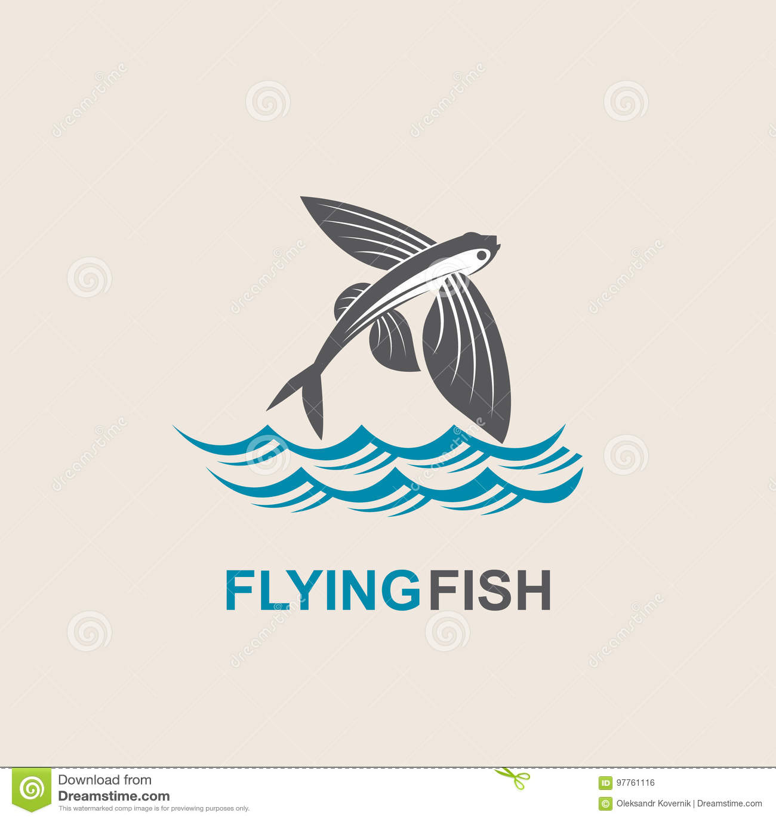 Flying Fish Icon Stock Vector Illustration Of Fishing 97761116