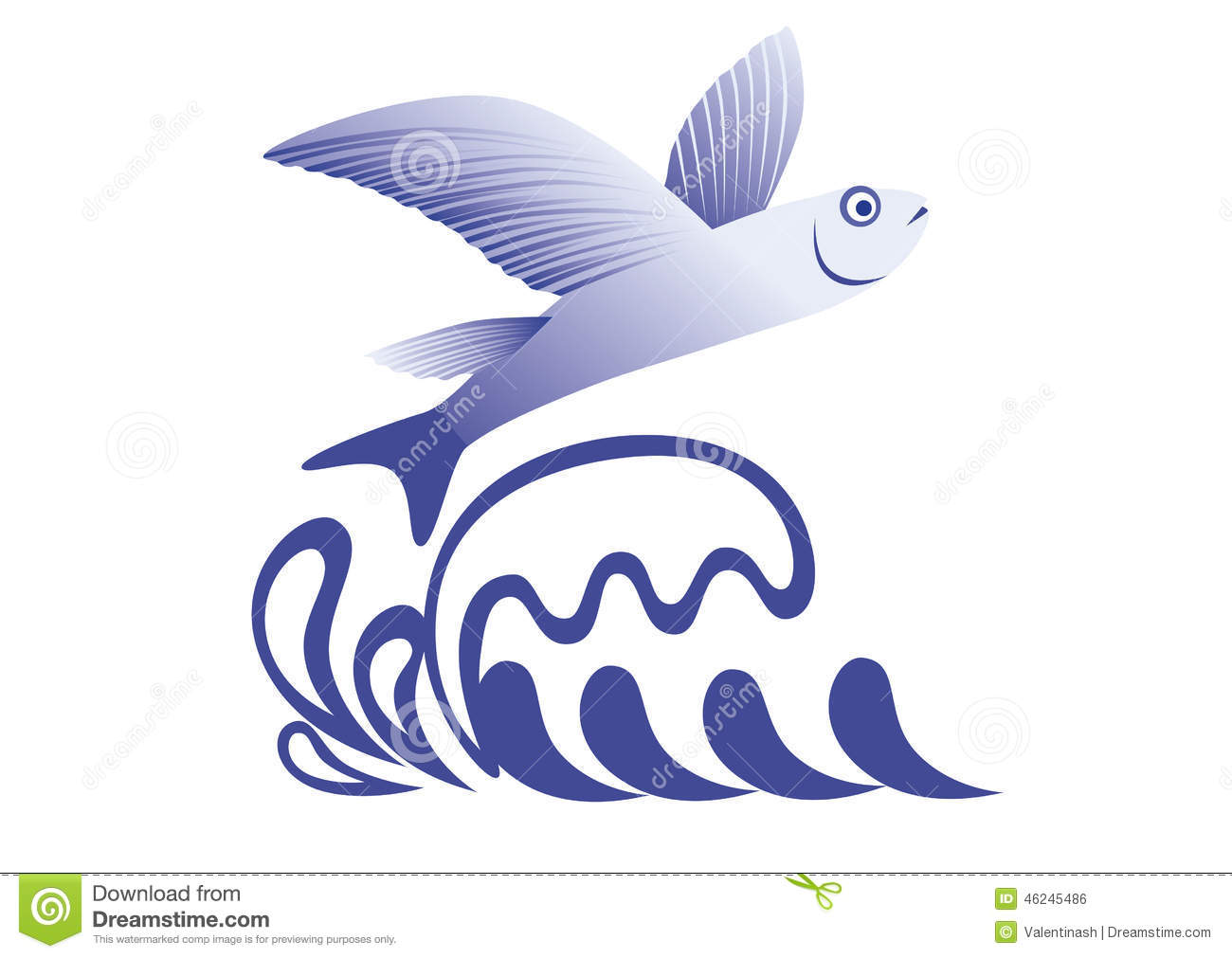 Flying Fish Stock Vector Illustration Of Sign Over 46245486