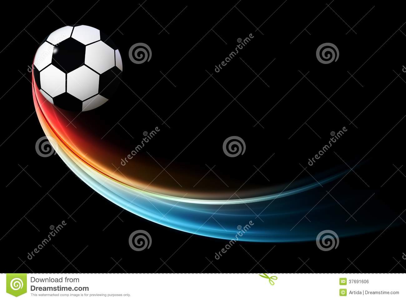 The Gallery For Flaming Football Background Images: Flying Flaming Football/soccer Ball With Blue Flame Stock