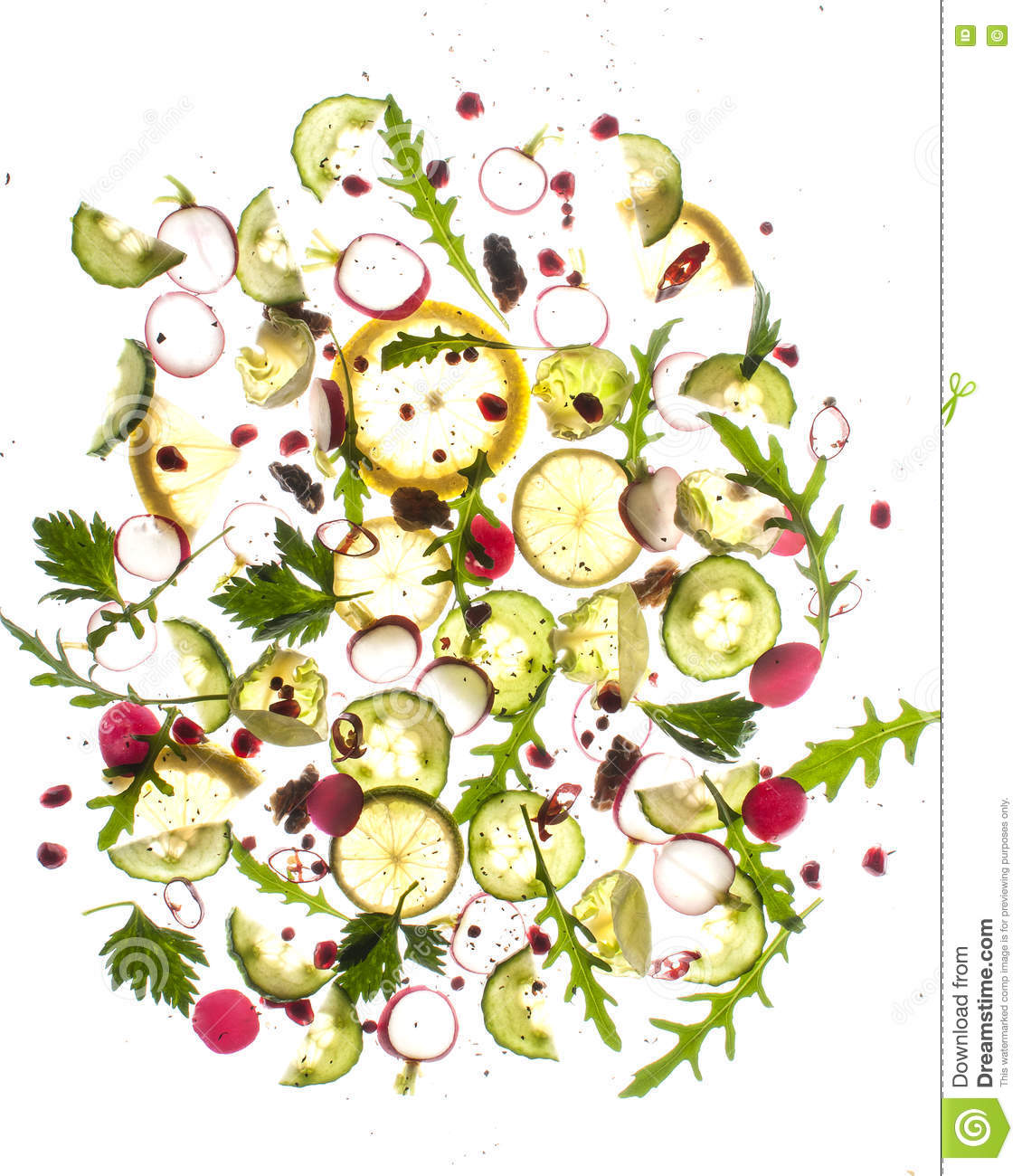 Flying Food Kiwi Lime Parsley Sald Brussel Sprouts Stock Photo