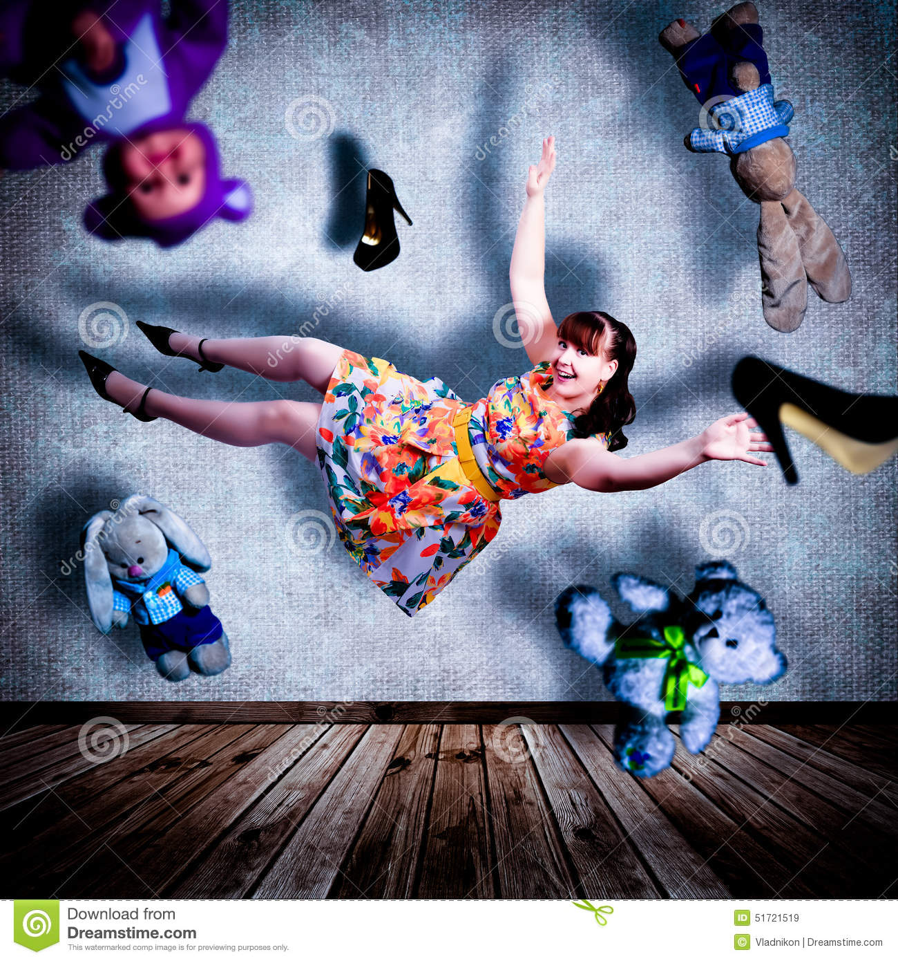 Flying girl. stock image. Image of abstraction, fall ...