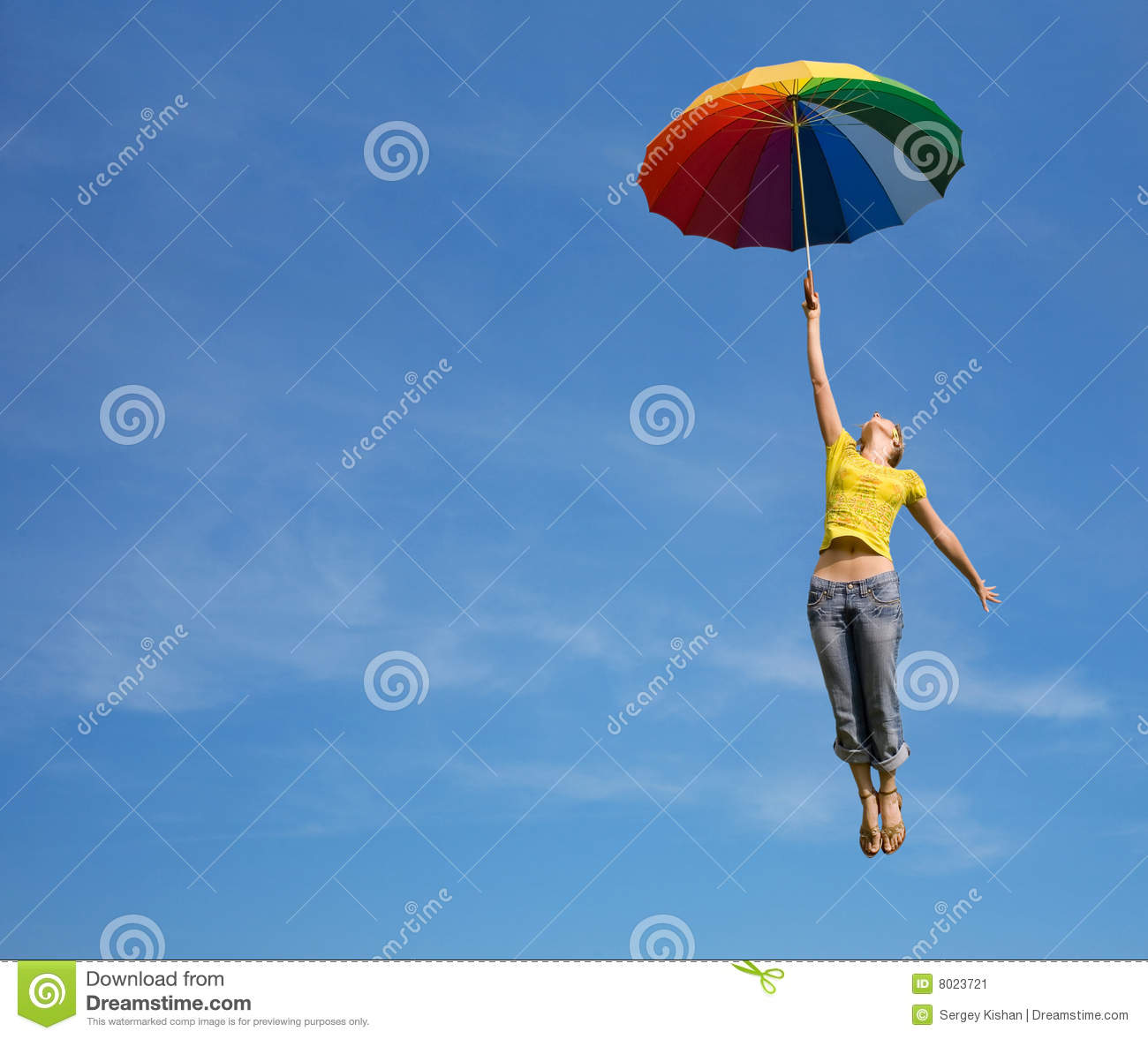 Patio Umbrella Flying Away: Flying Girl With Colorful Umbrella In The Blue Blu Stock