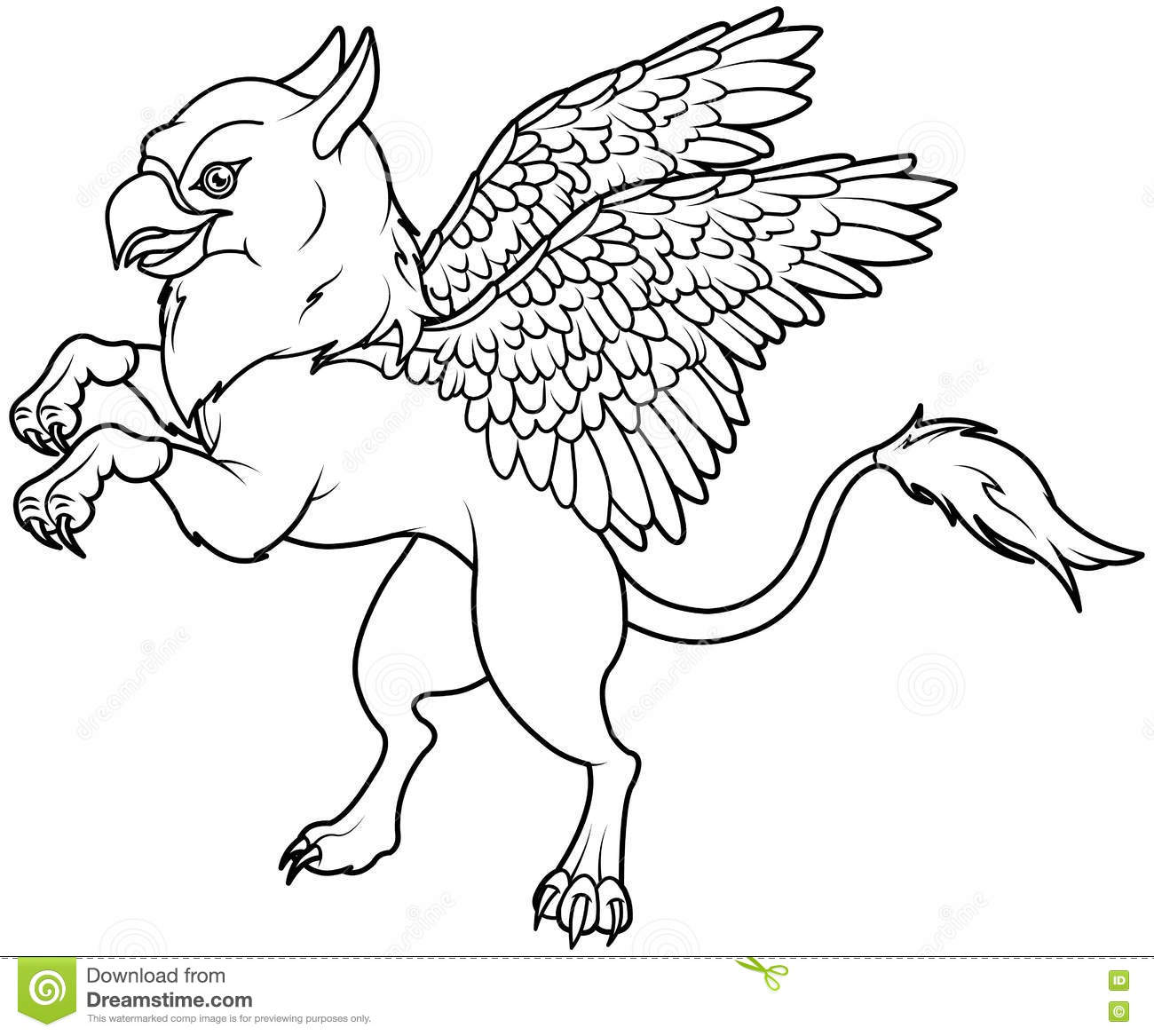 Flying griffin stock vector image of coloring fantasy for Griffon coloring page