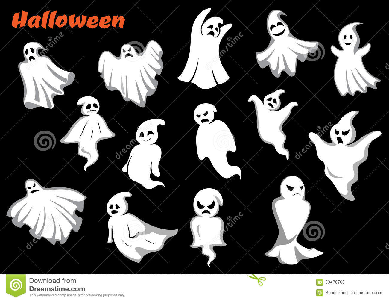 White Flying Halloween Monsters And Ghosts Stock Vector - Image ...