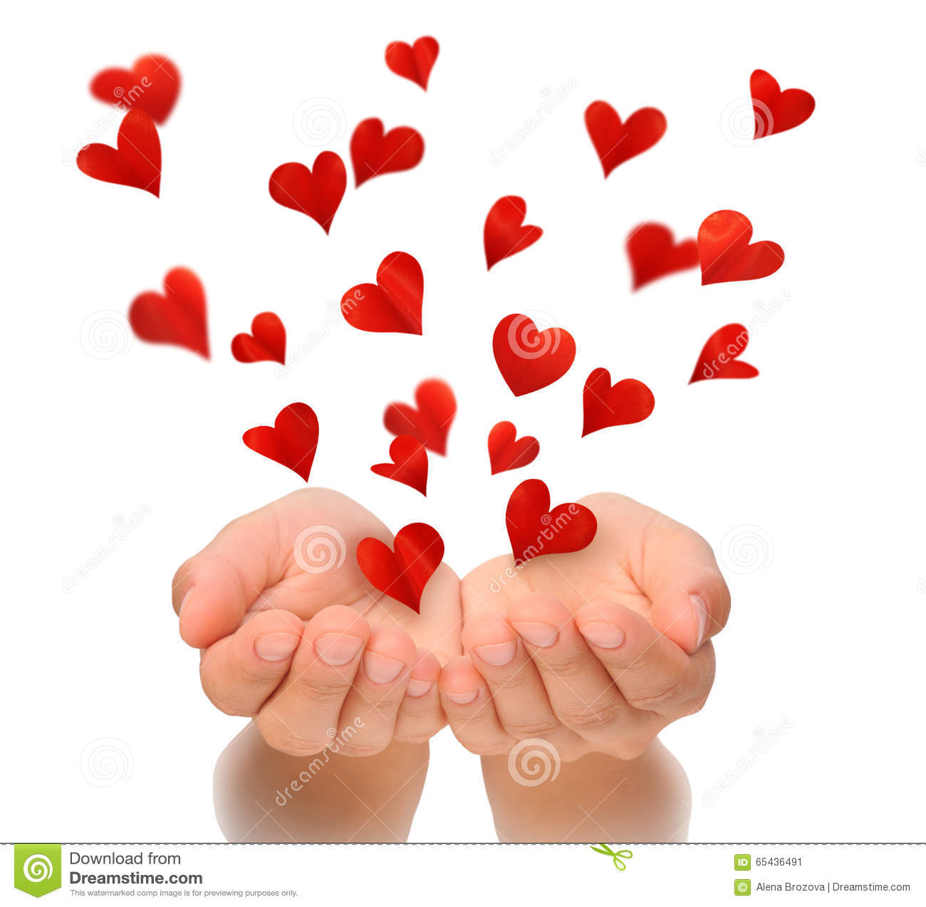 Flying Hearts From Cupped Hands Of Young Woman Valentines Day
