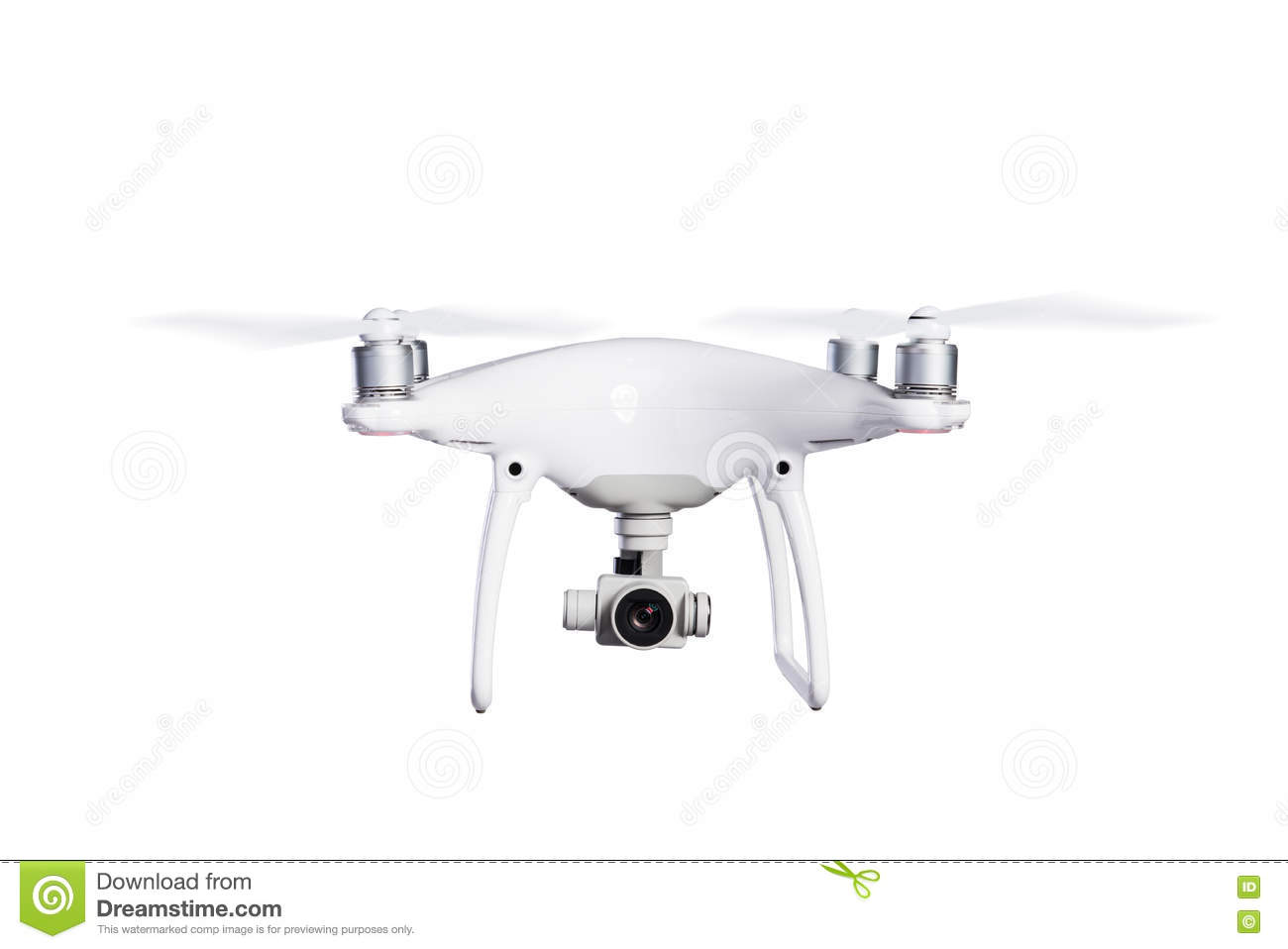 drone with camera isolated stock photo