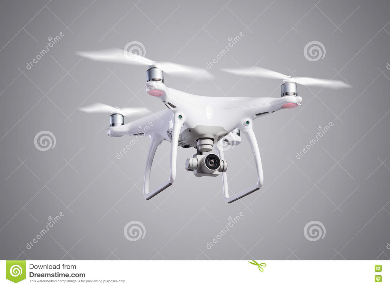 Flying Helicopter Drone With Camera  Studio Shot  Stock Image