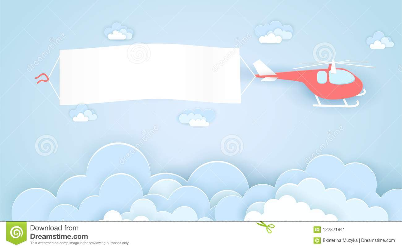 Flying Helicopter With Empty Advertising Banner Vector