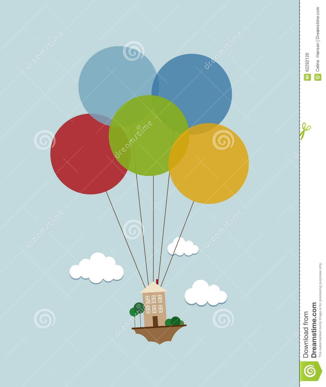 Flying House With Balloons Stock Illustration Image