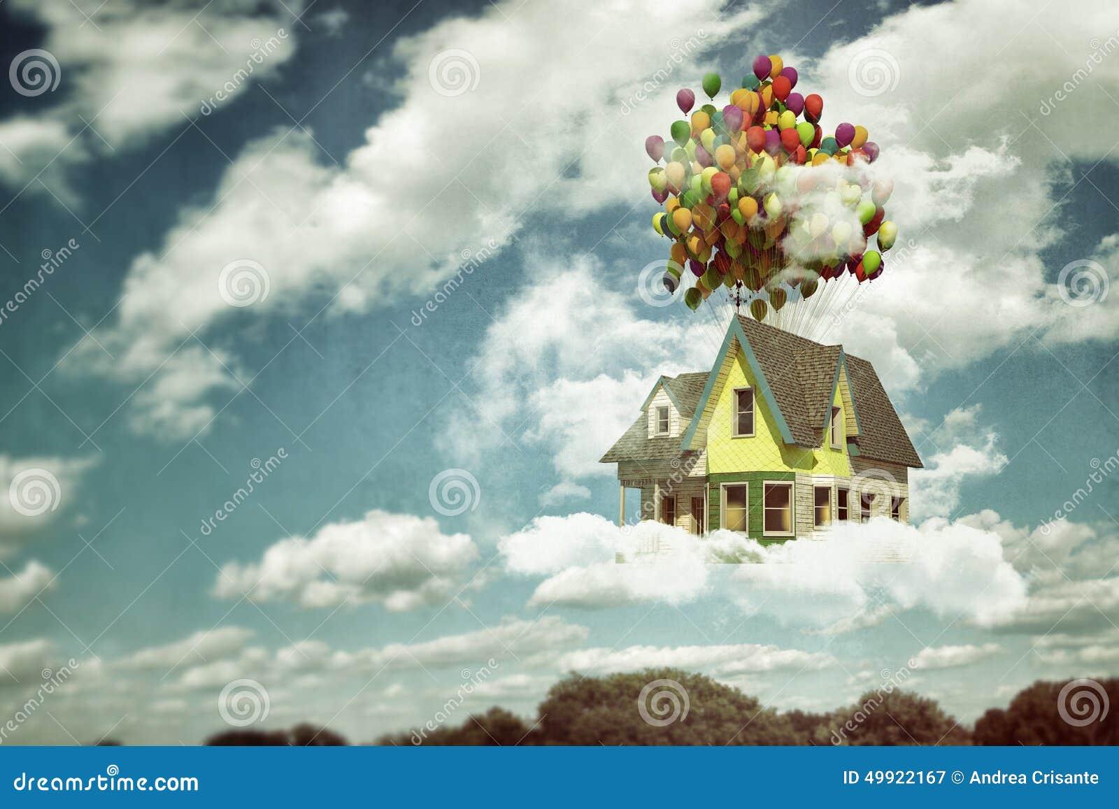 Flying house stock illustration image of estate balloons for Flying haus