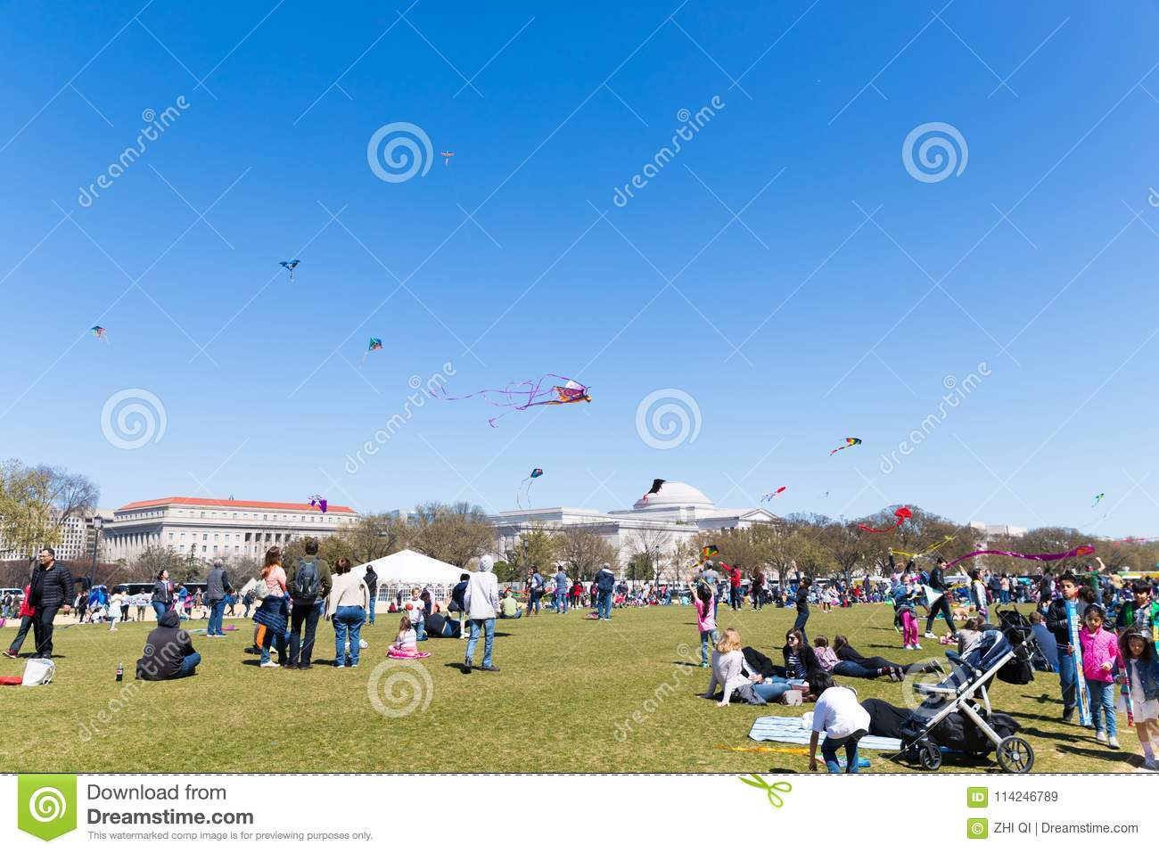 Flying Kites At The Kite Festival Editorial Stock Image