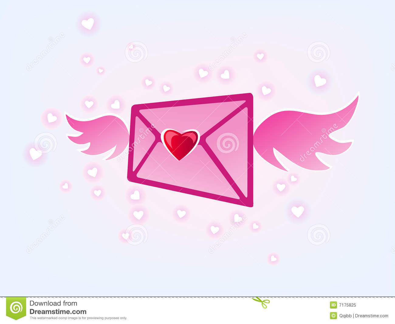 flying love mail royalty free stock photo