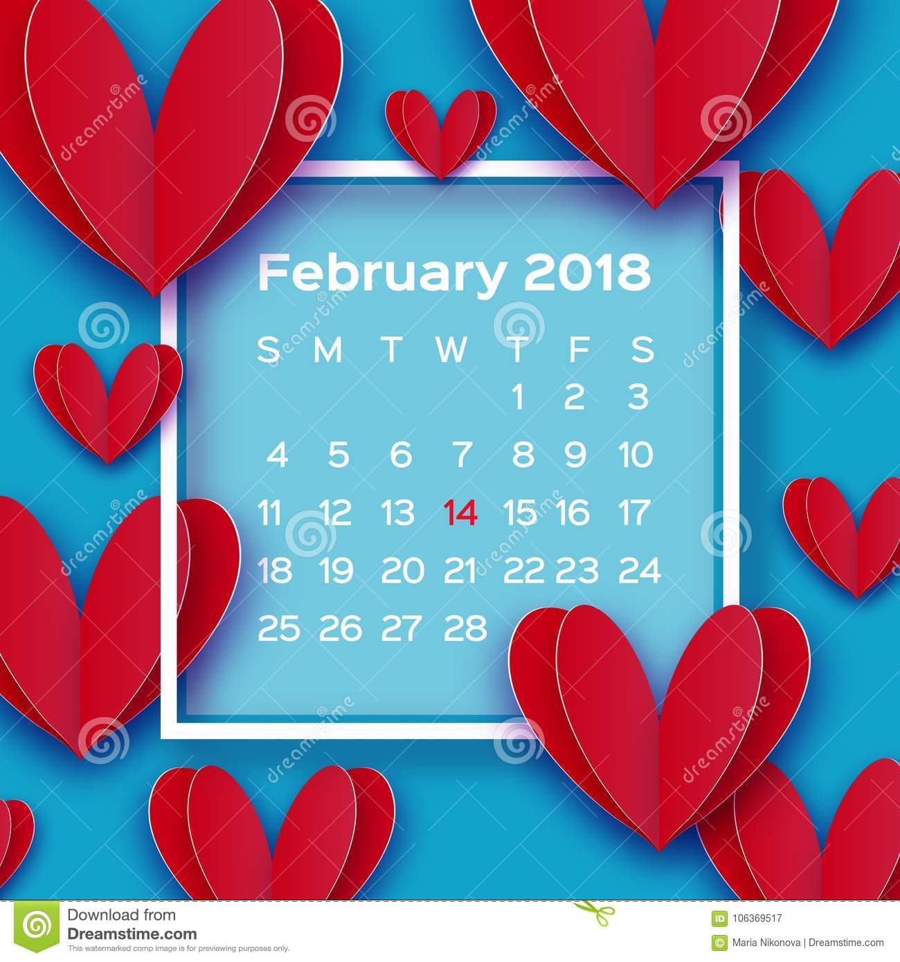 Flying Love Red Hearts In Paper Cut Style. Calendar 2018 Year ...