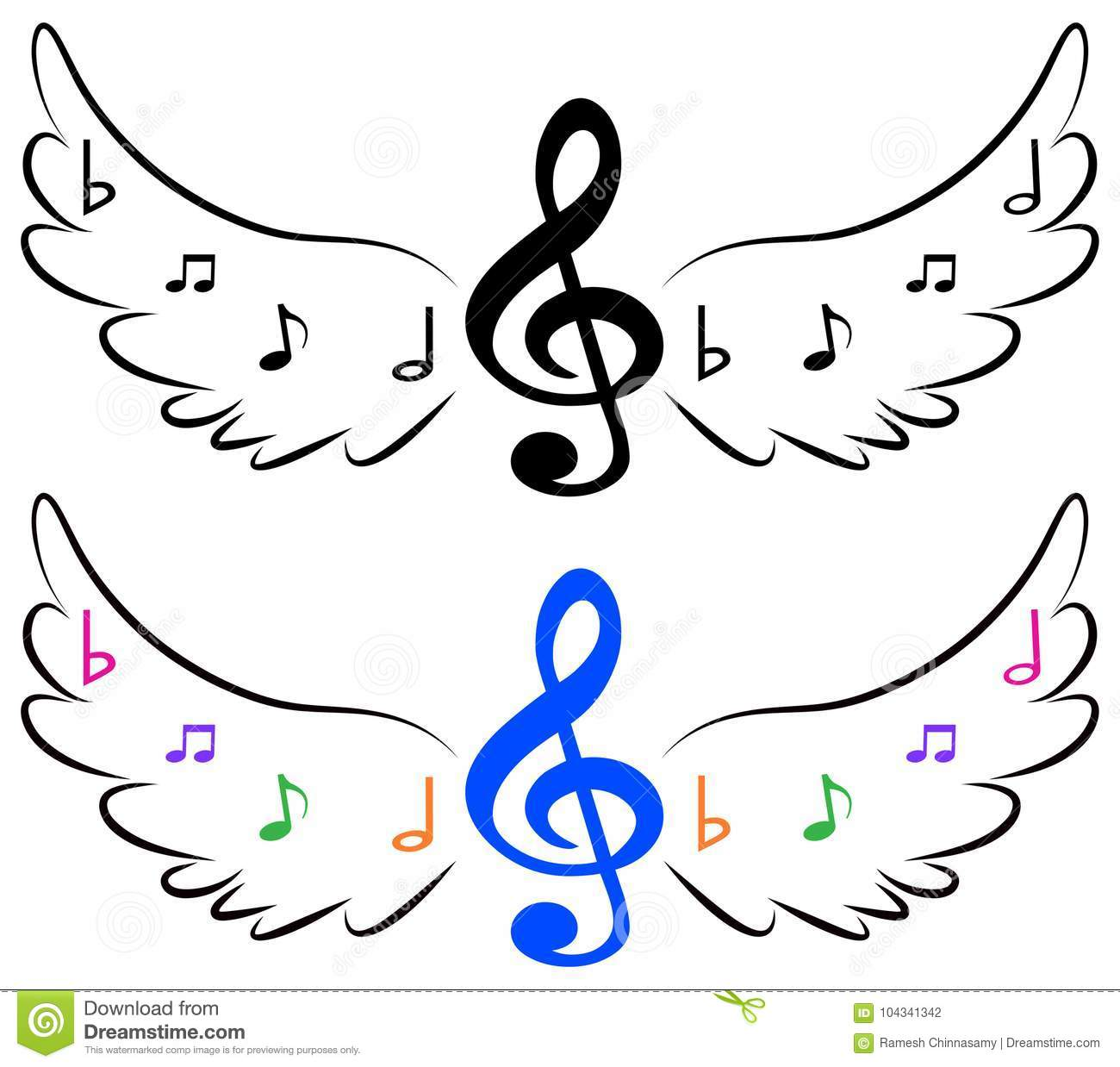 Flying Music Symbols In Wings Stock Vector - Illustration of jazz
