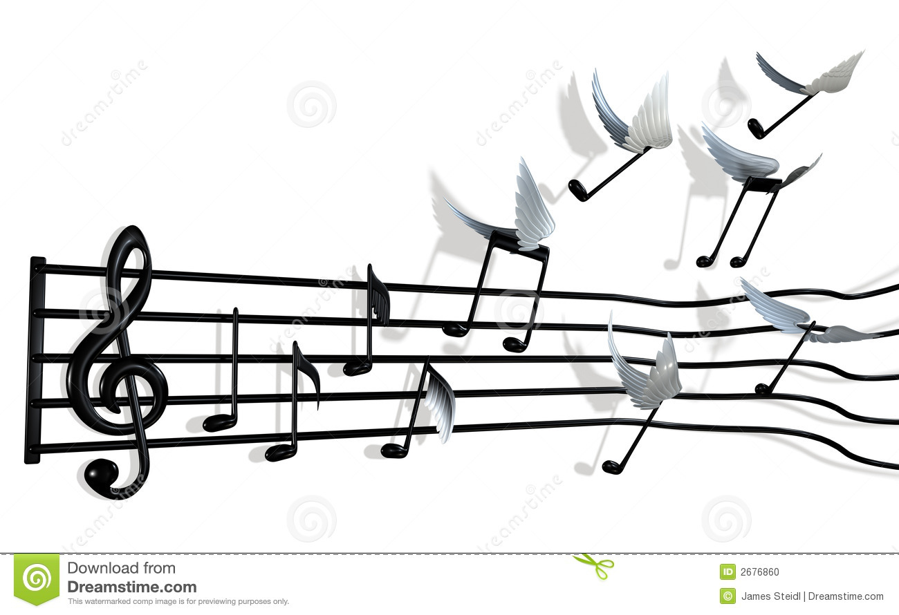 musical score with the notes peeling off the bars and flying away ...