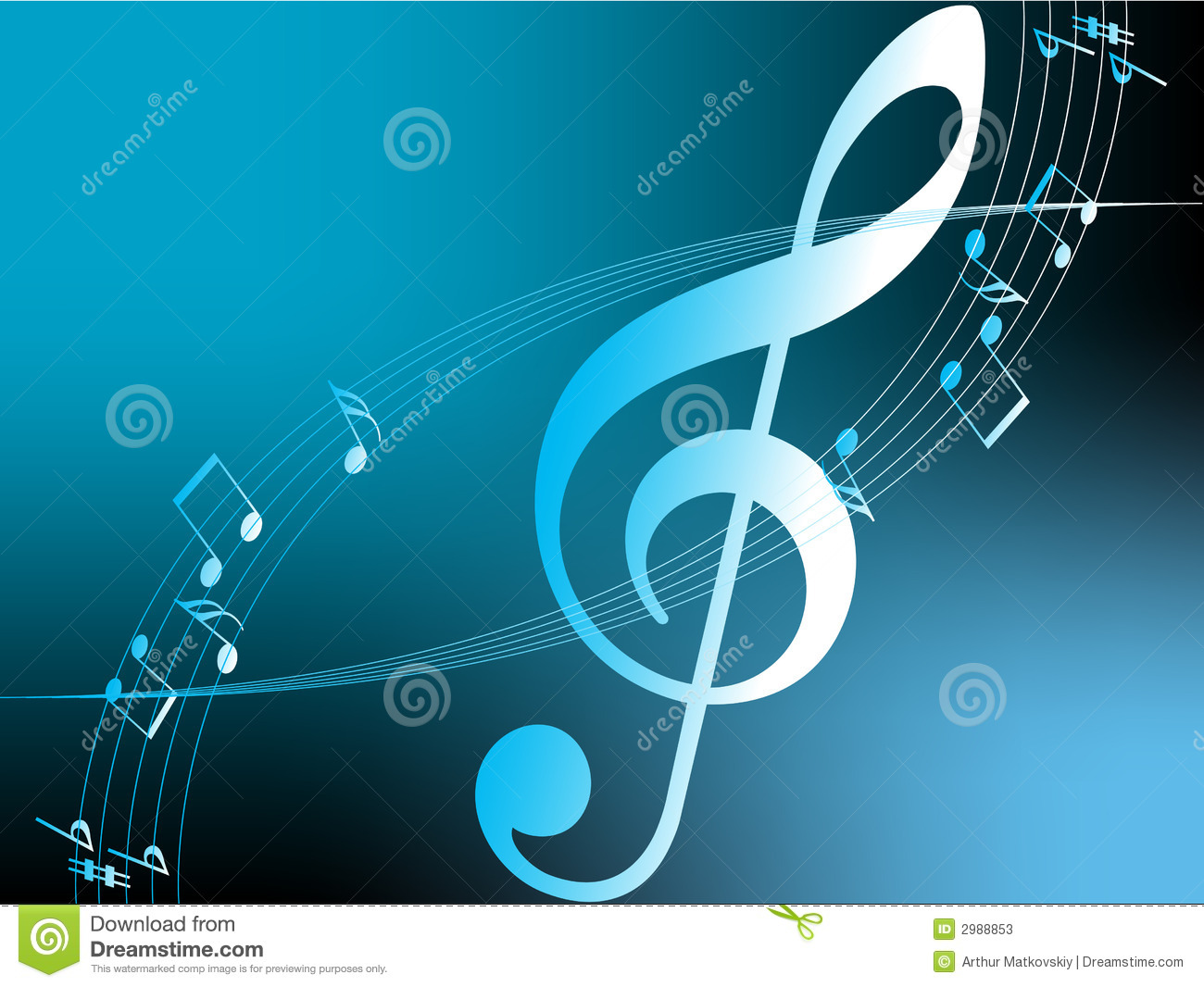 Flying notes, warm background
