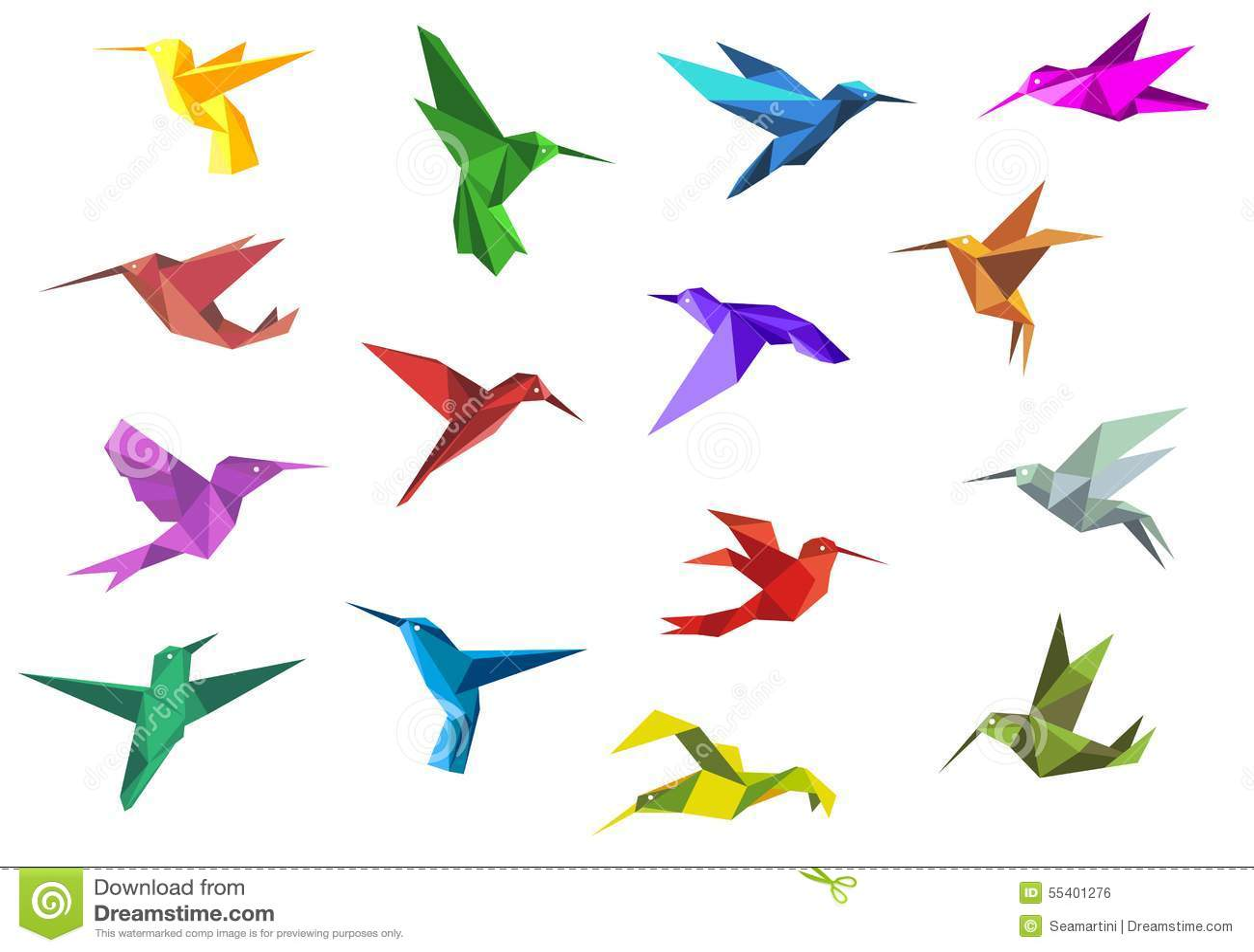 Flying Origami Hummingbirds Or Colibri Birds Stock Vector