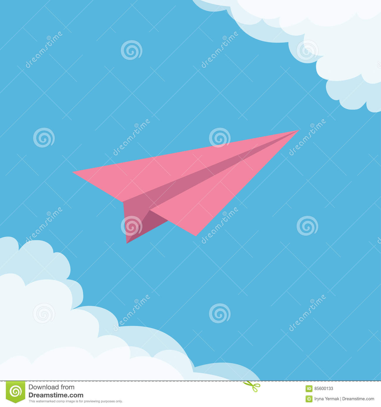 Flying Origami Pink Paper Plane. Cloud In Corners Frame ...