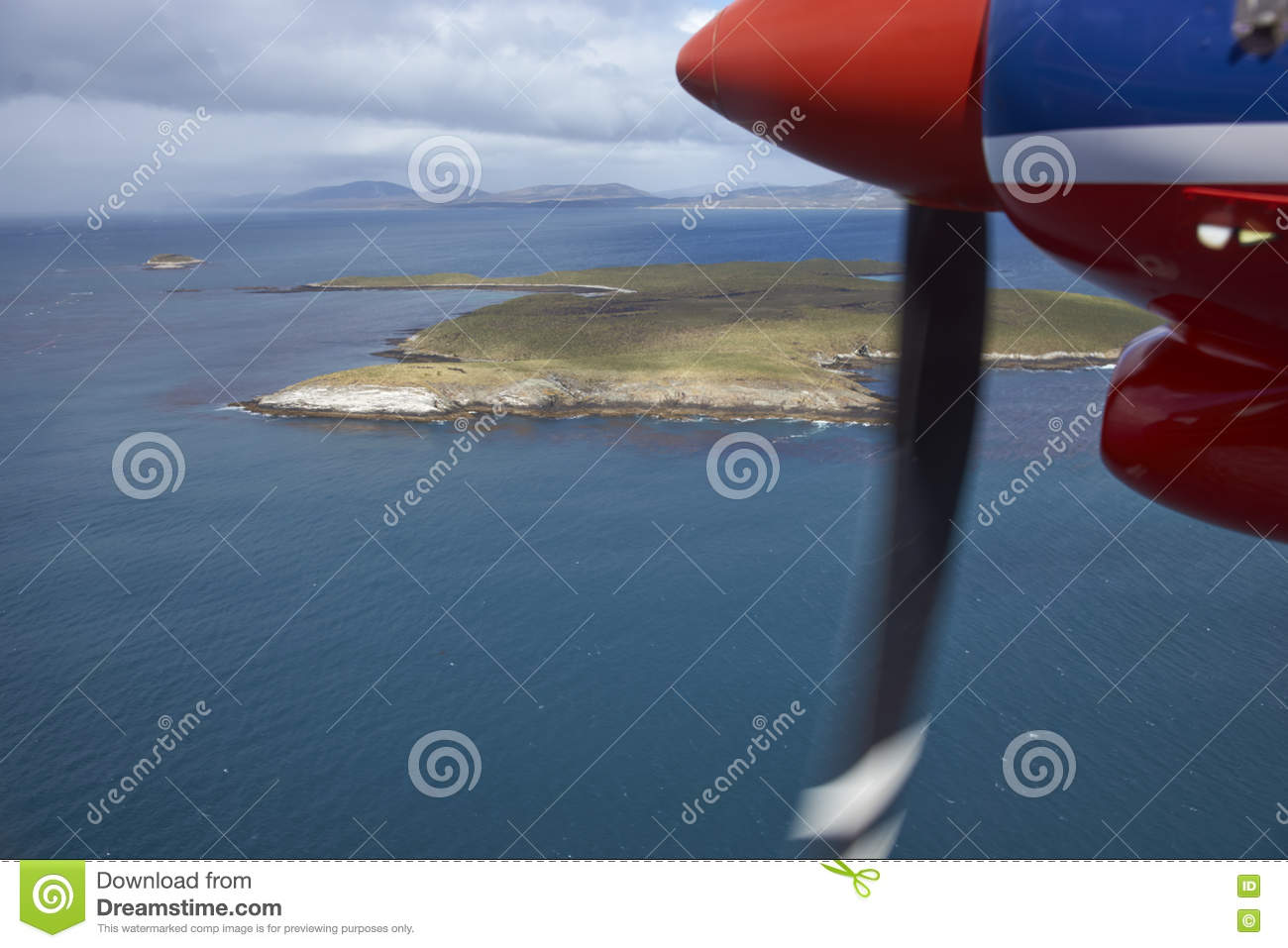 Flying over the Falkland Islands