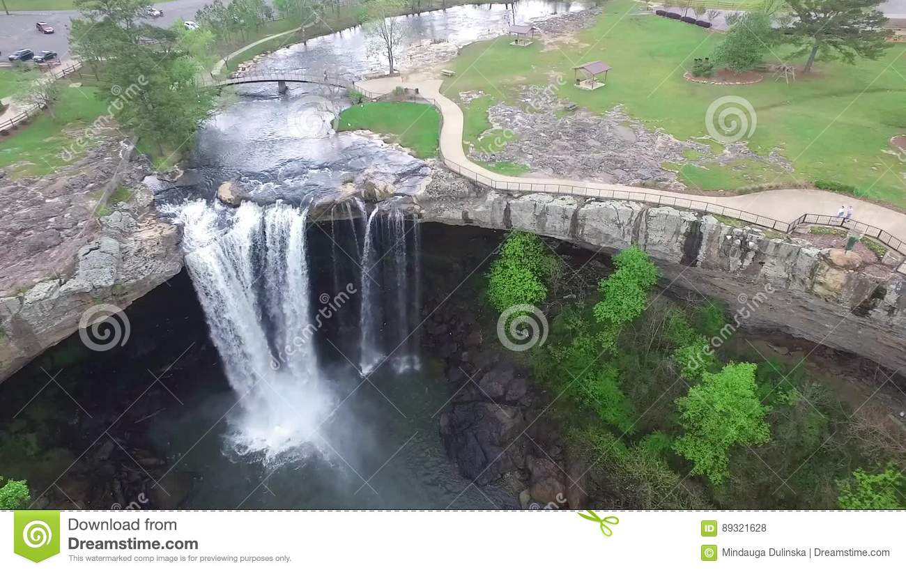 Flying Over Noccalula Falls Park And Campgrounds Stock Footage ...