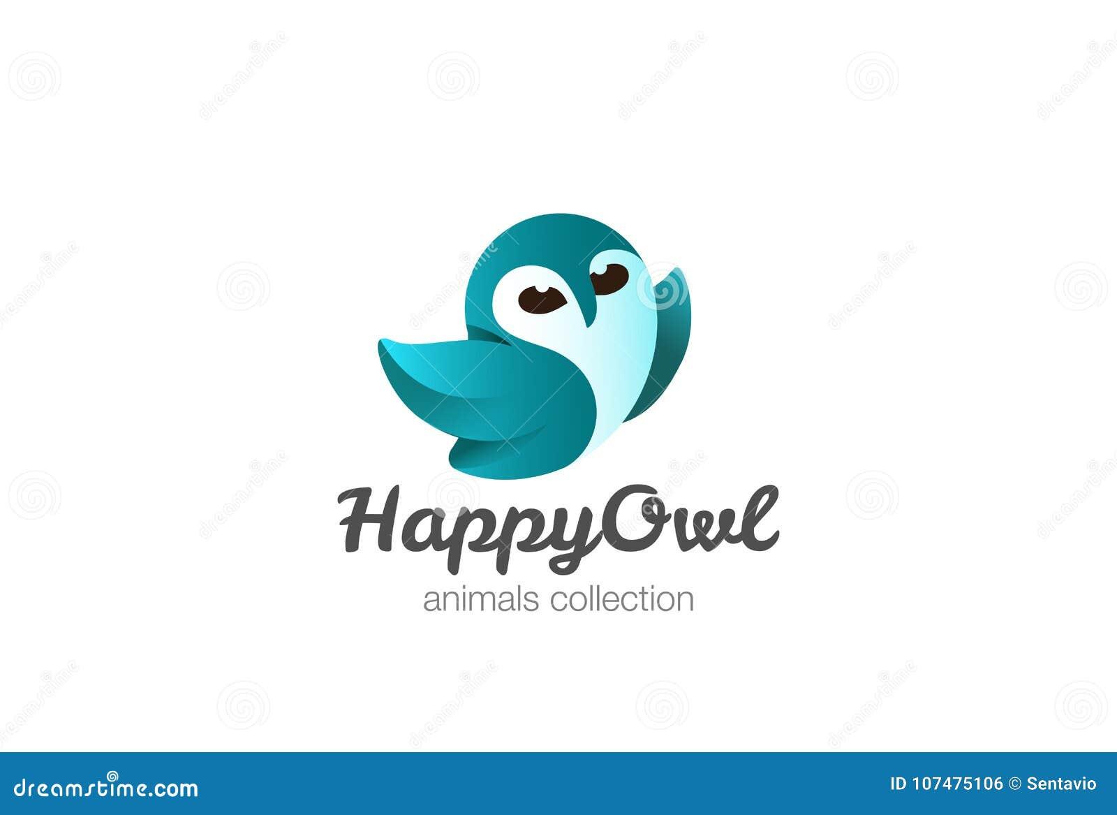 flying owl logo design template funny bird stock illustration